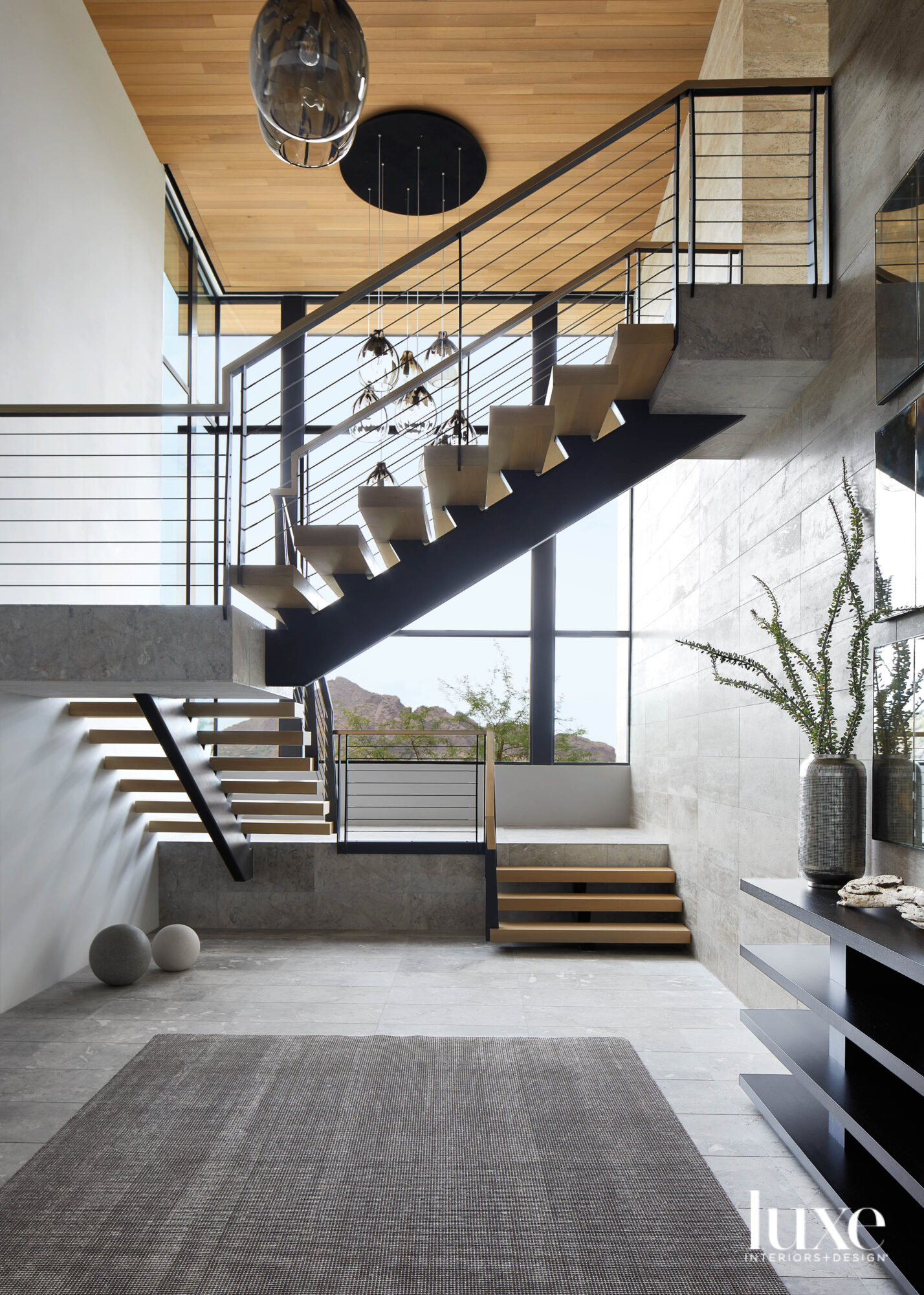 A modern staircase in a...
