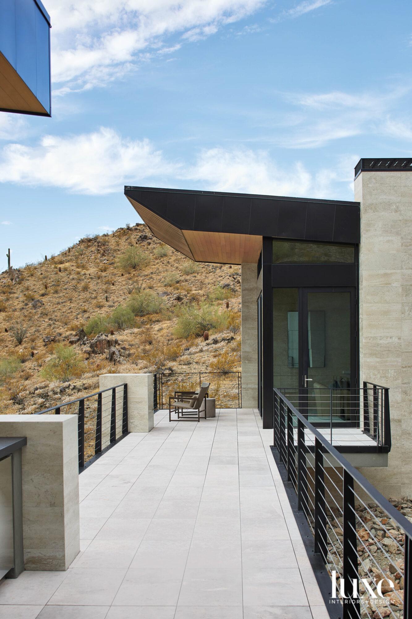 A deck on a modern...