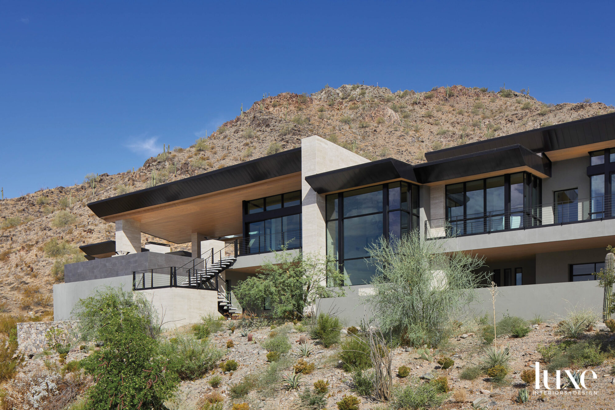 A modernist home with steel...