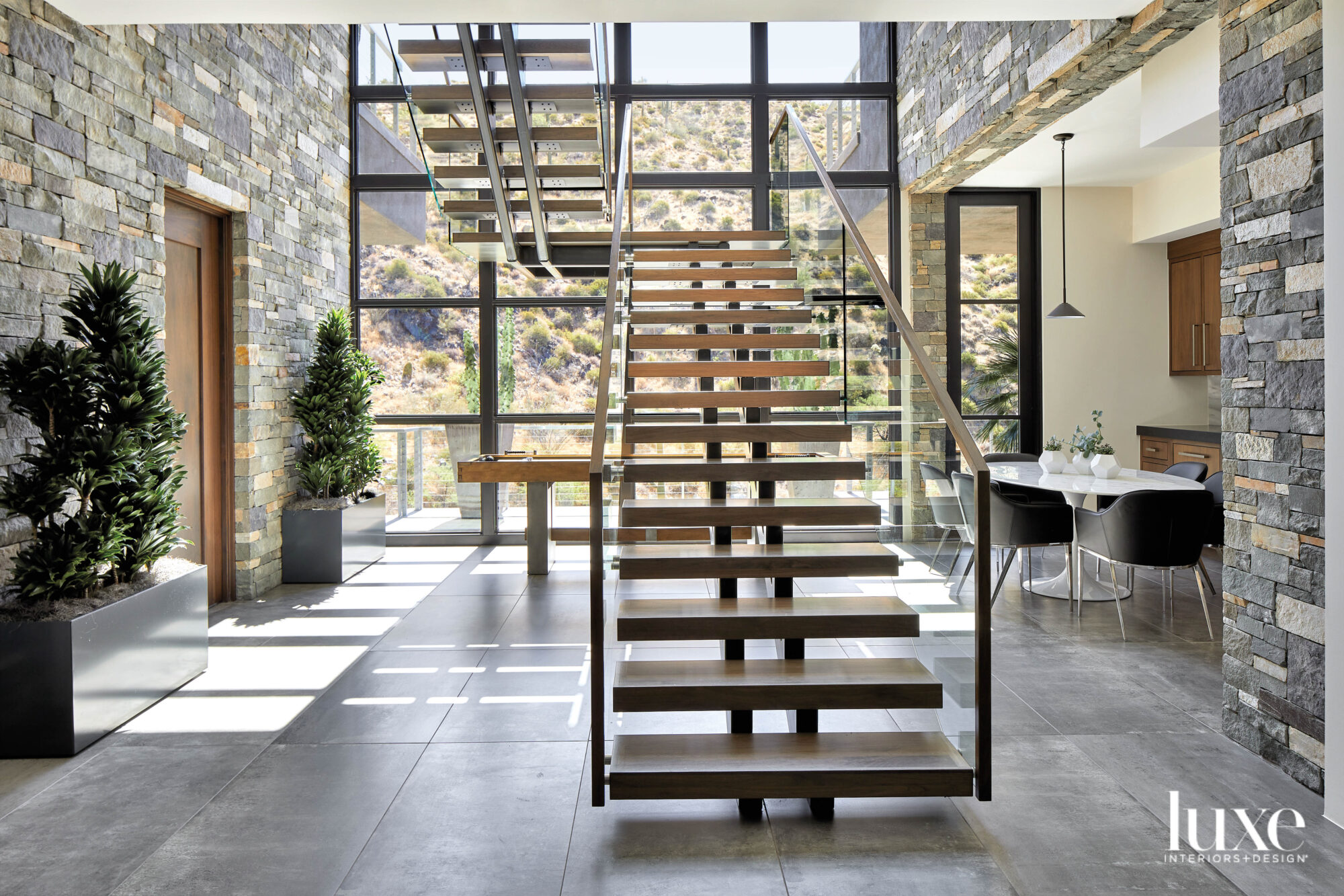 An open staircase in a...