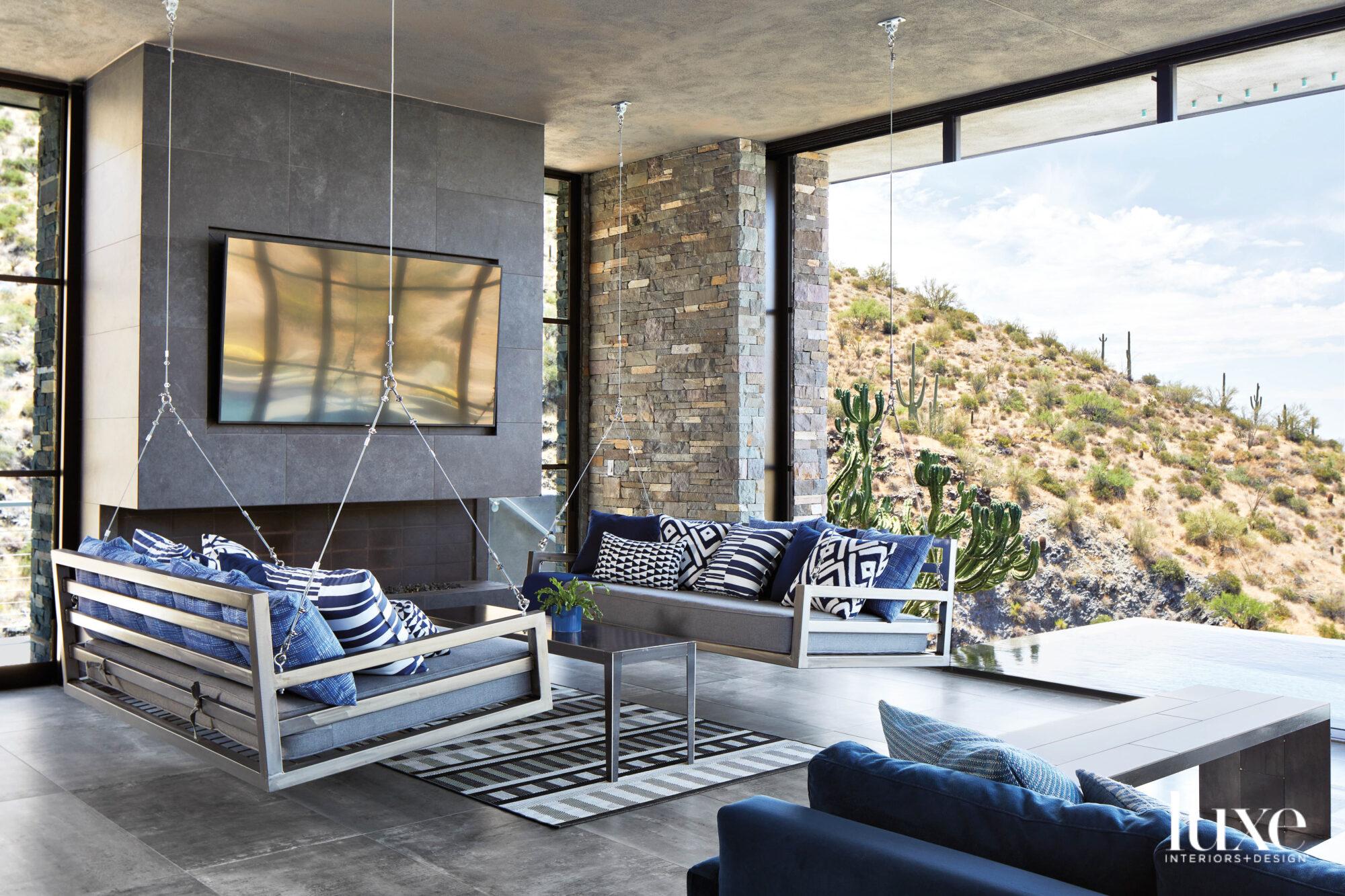 An indoor/outdoor room that has...