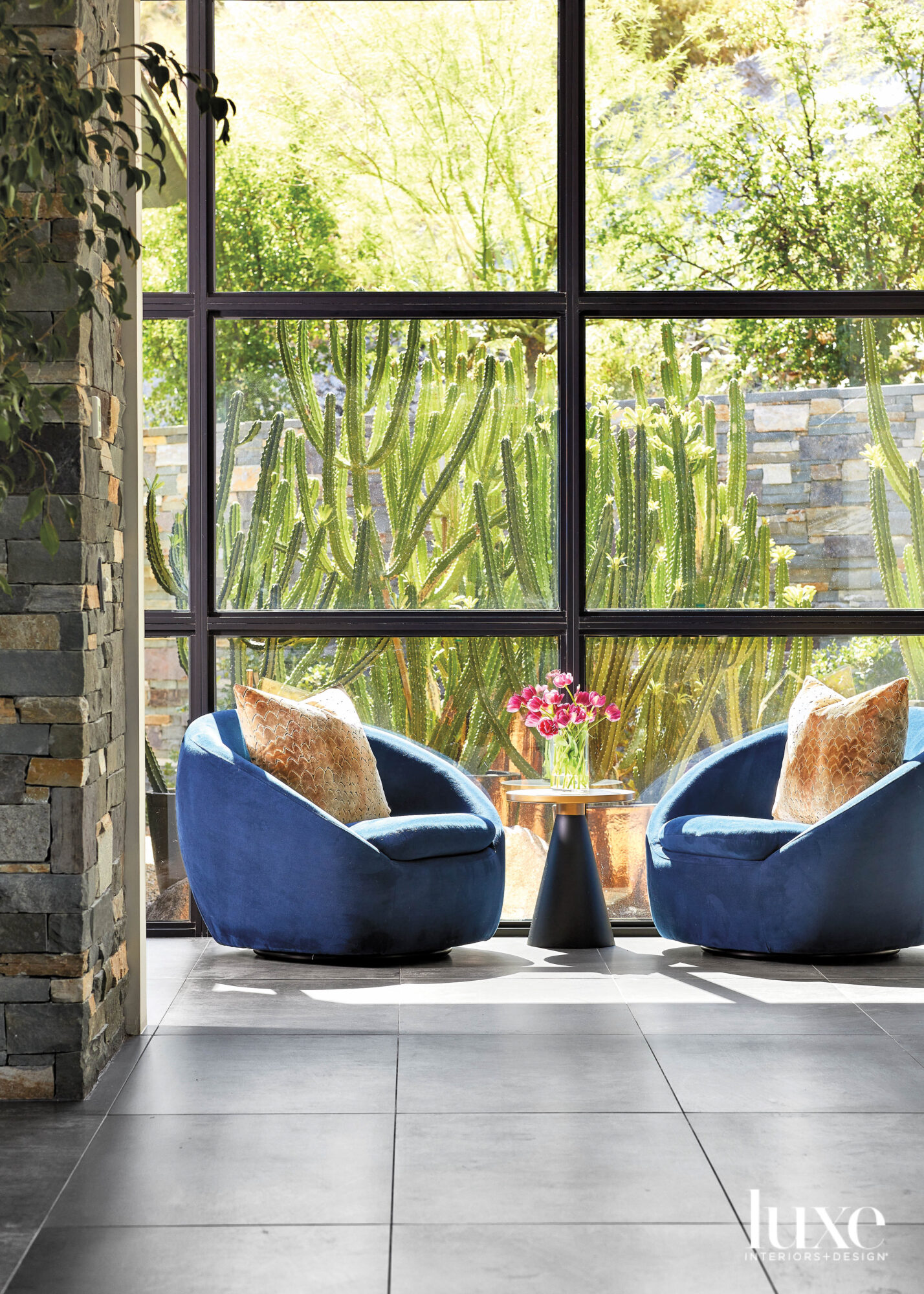 A seating area with two...