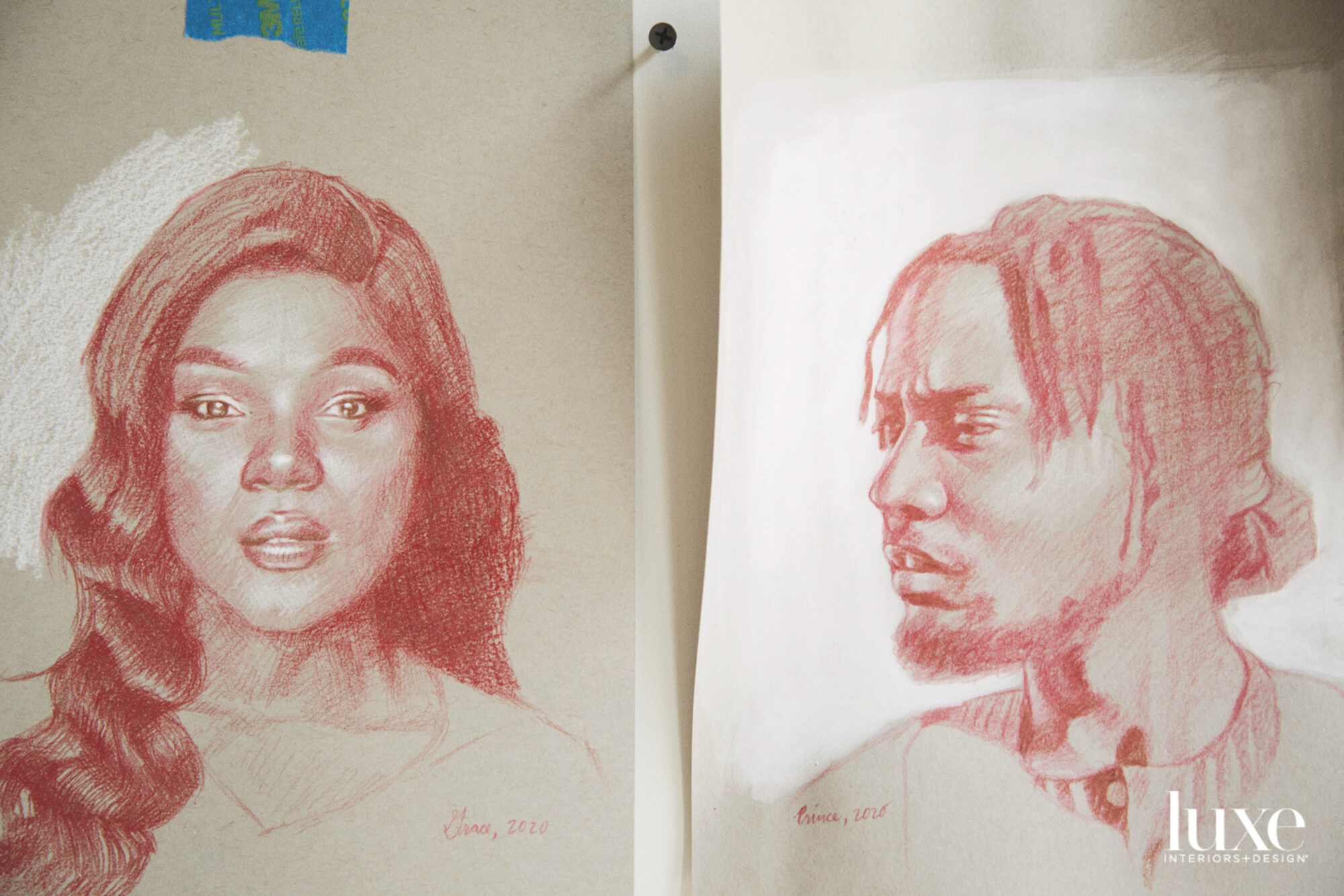 Two sketches; one of a Black woman and one of a Black man.