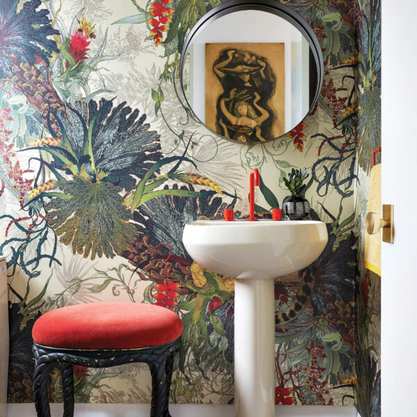 Colorful Botanicals Make A Splash In This Jewel Box Bathroom