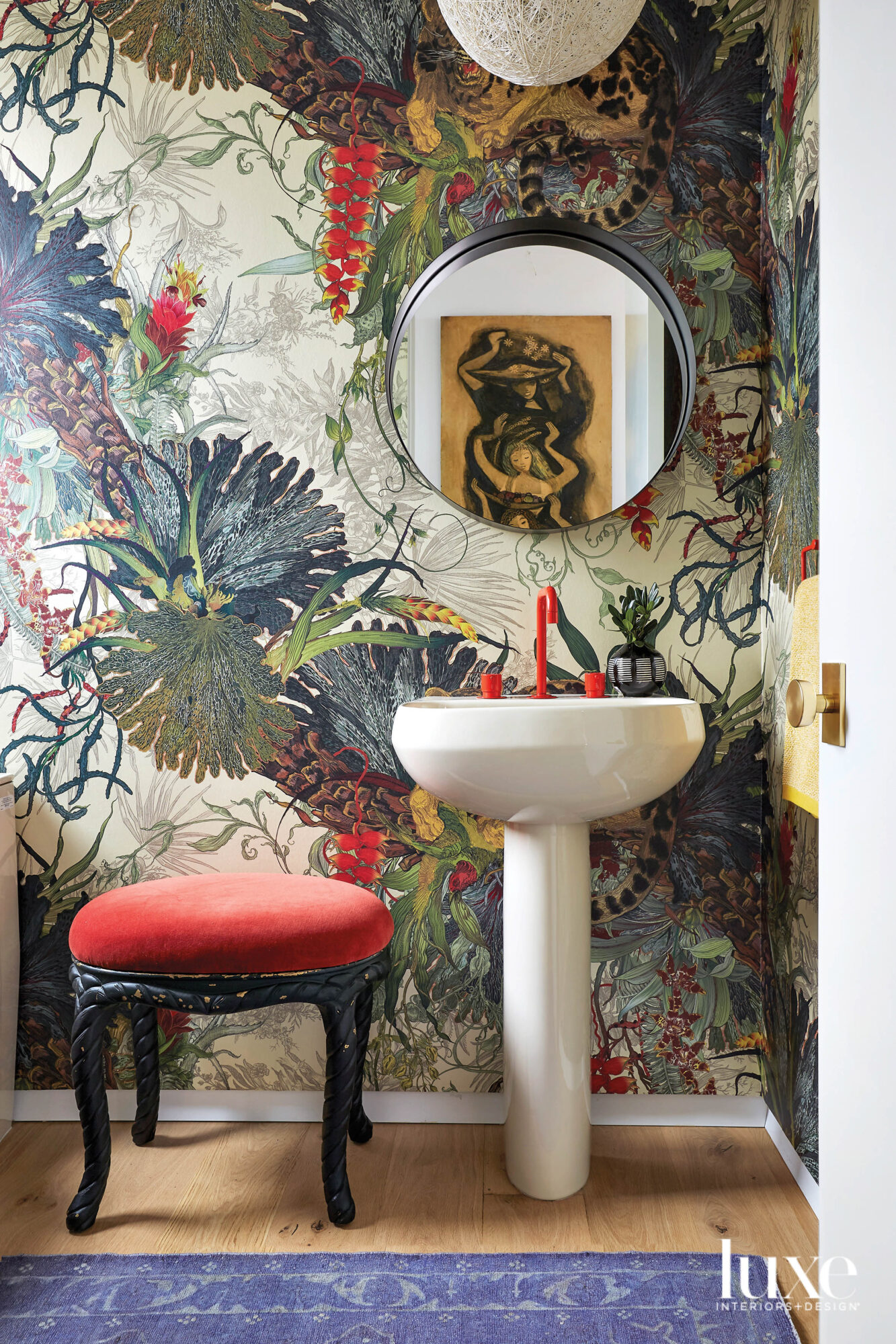 botanical wallpaper colorful bathroom