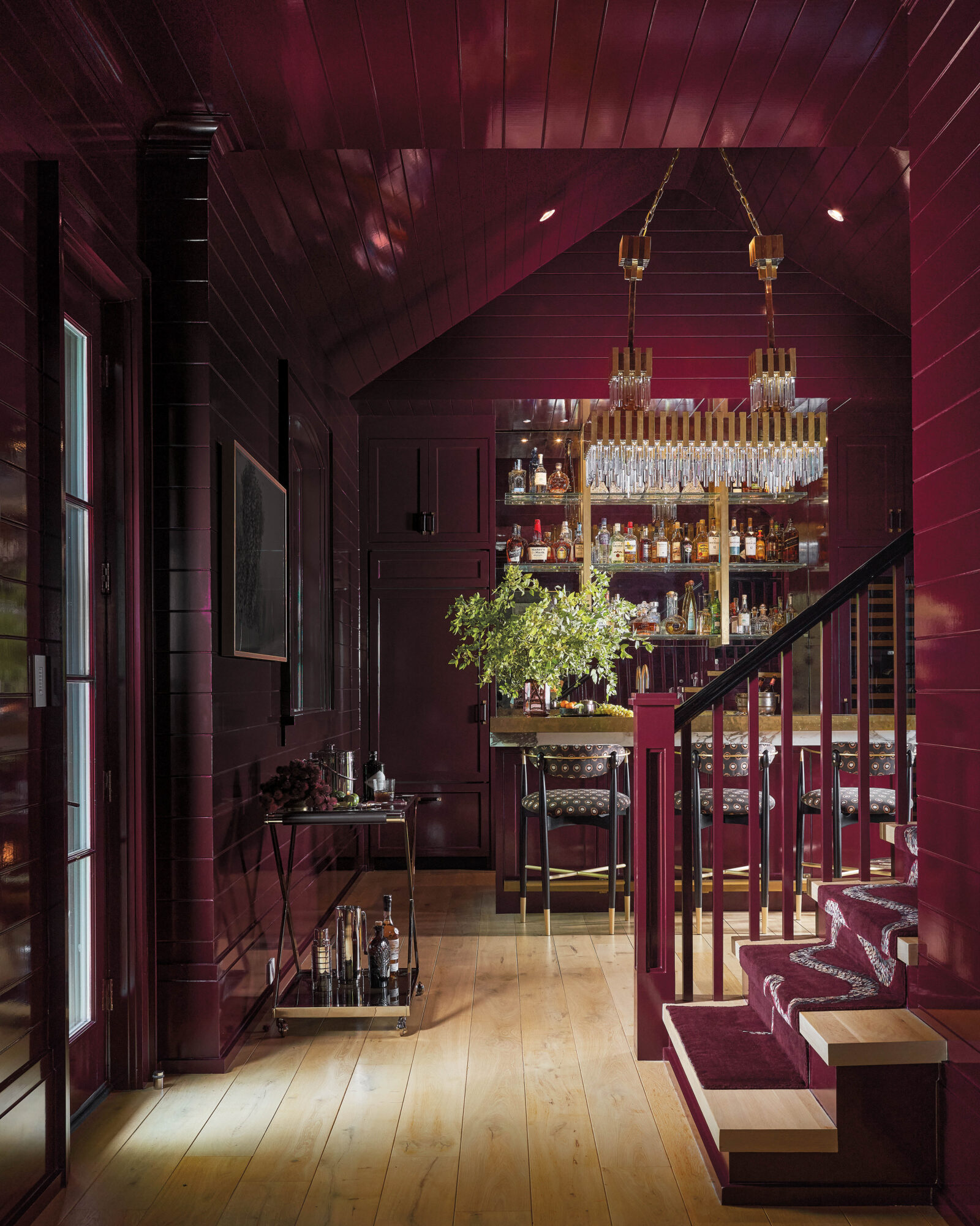 burgandy wine room with paneling