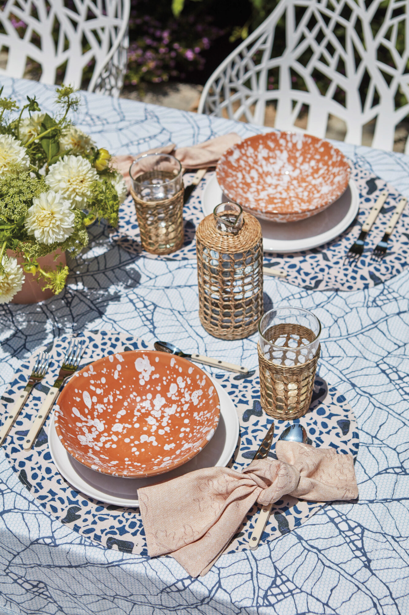 table space with orange dishes