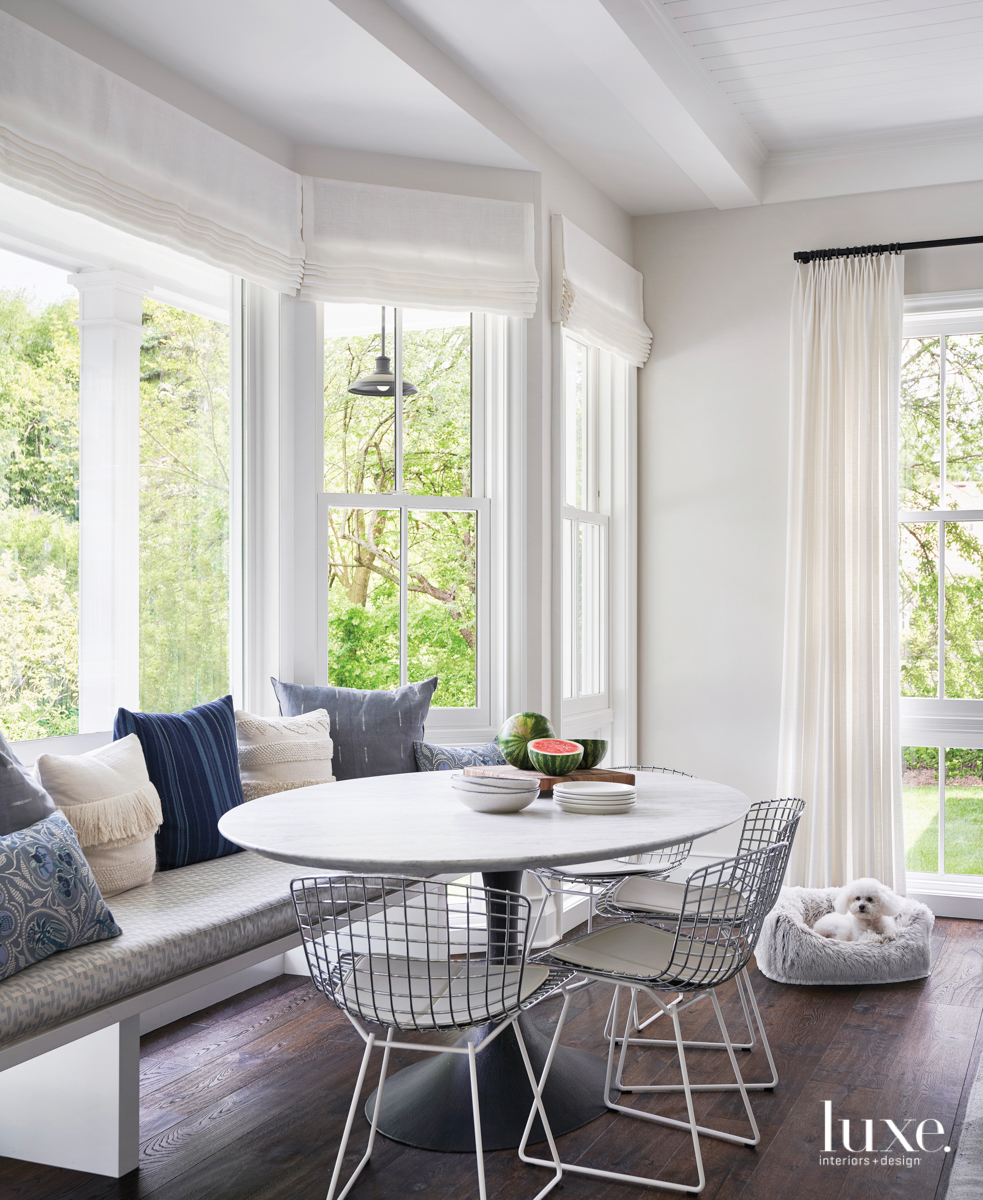 breakfast nook with bench and...