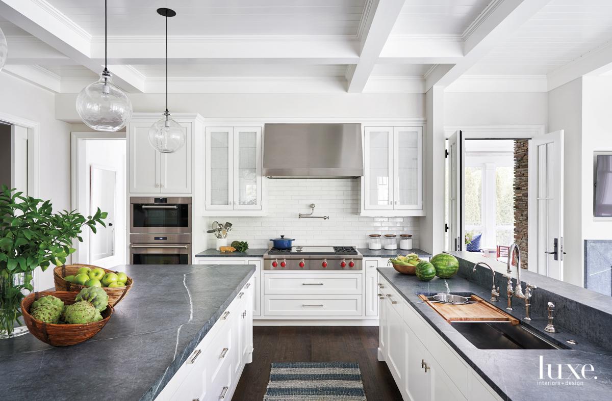 white kitchen with soapstone countertops