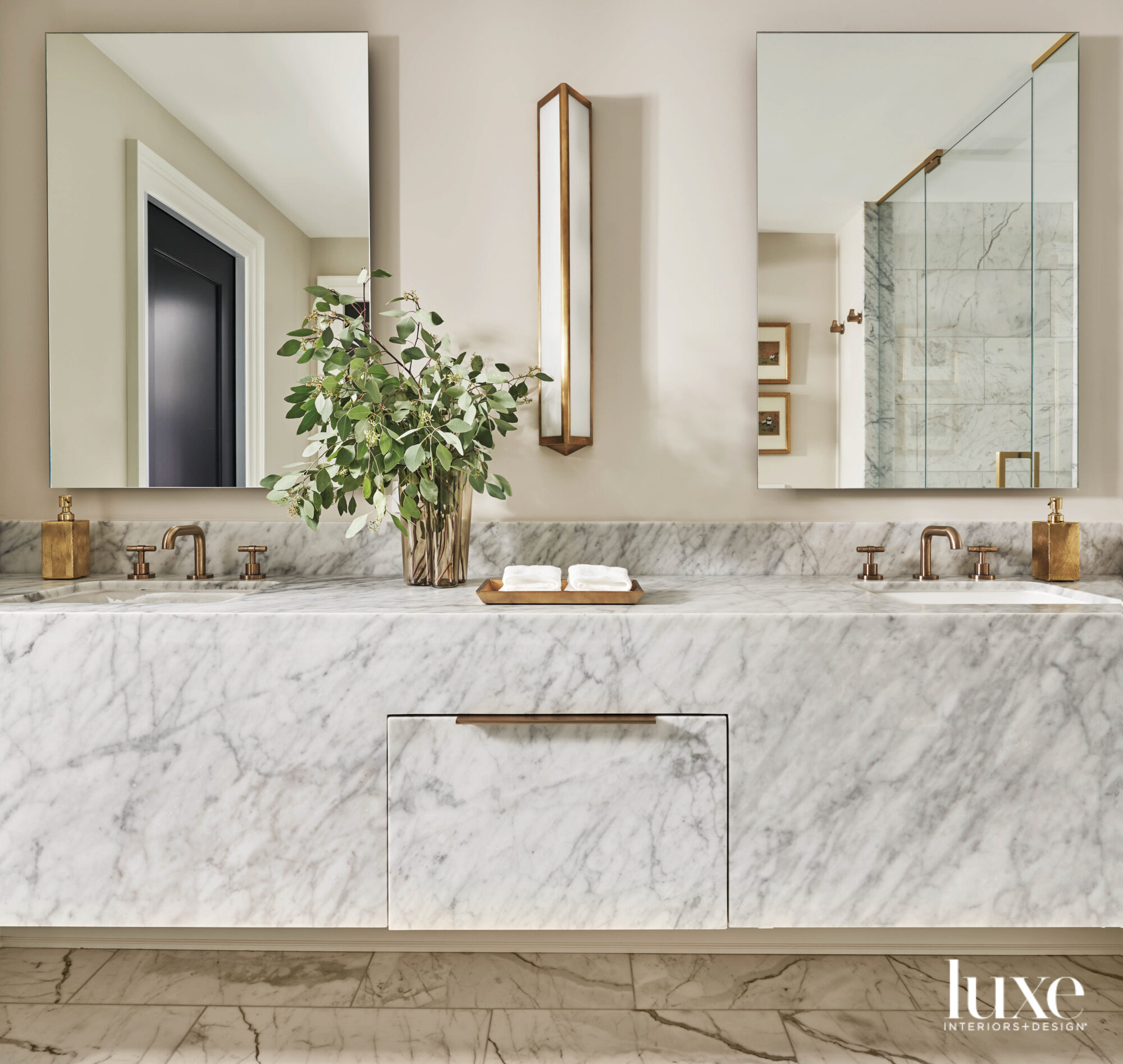 A marble countertop in a...