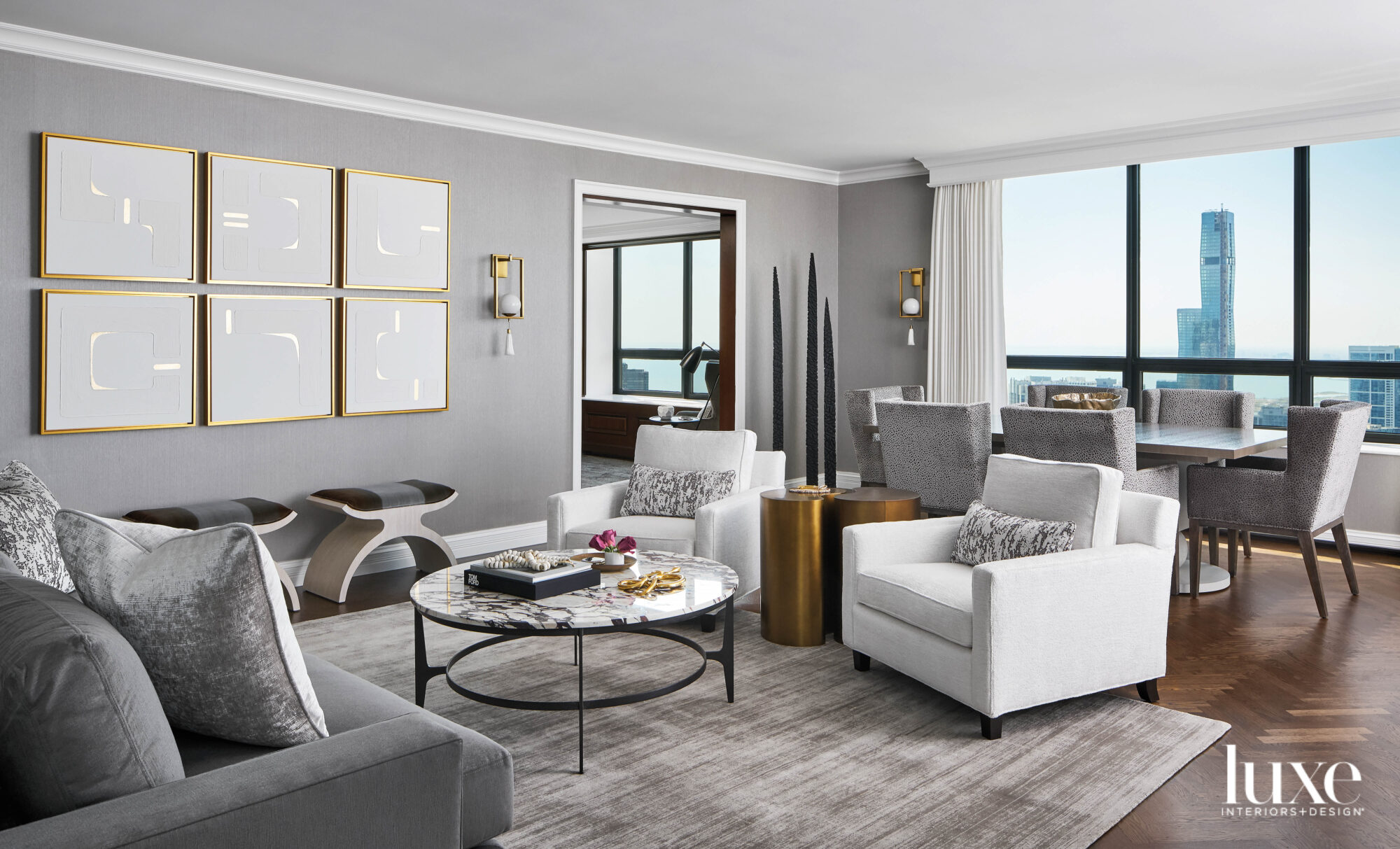 A gray seating area with...