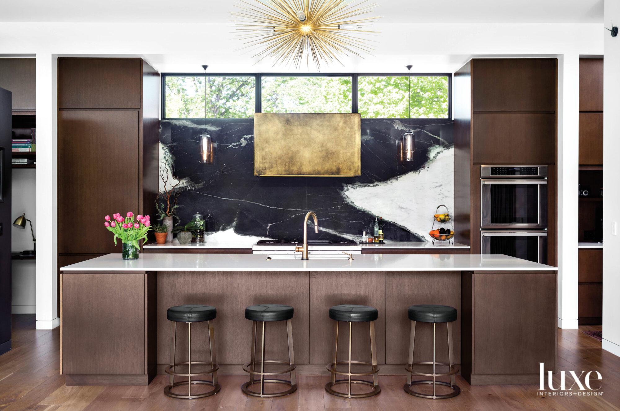 Rift-sawn oak cabinets and dramatic...