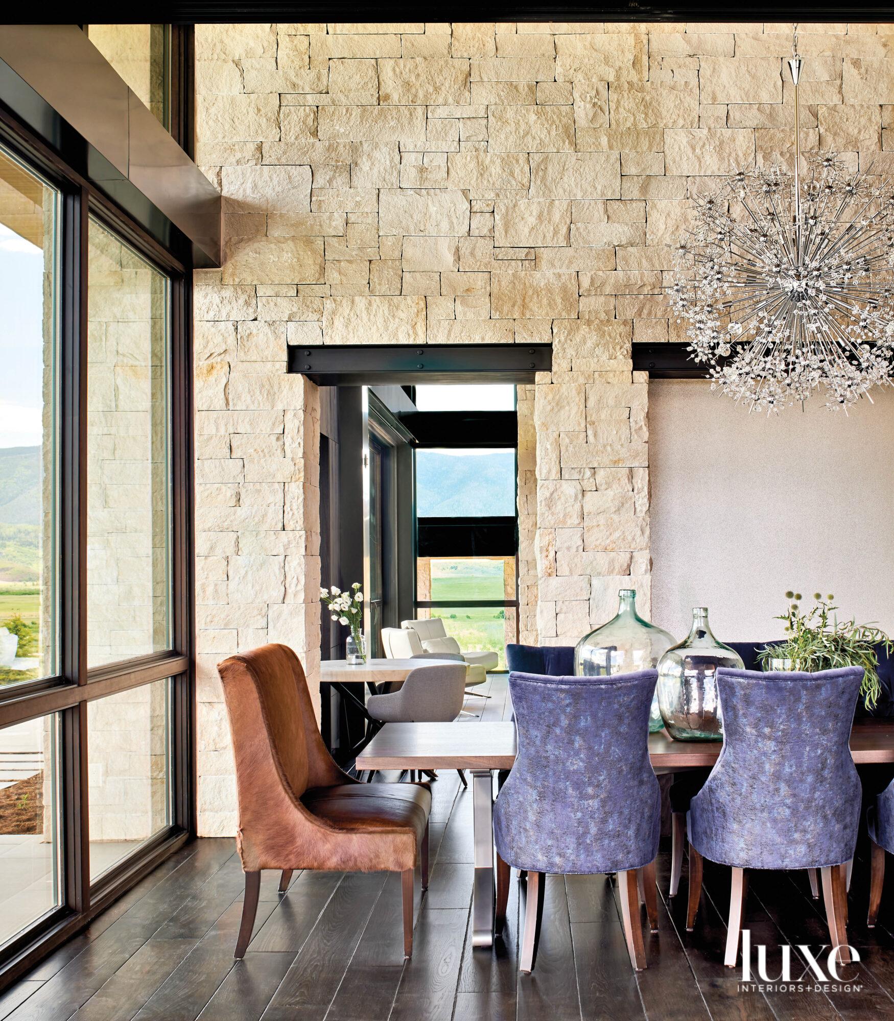 Metallic velvet design chairs surround...