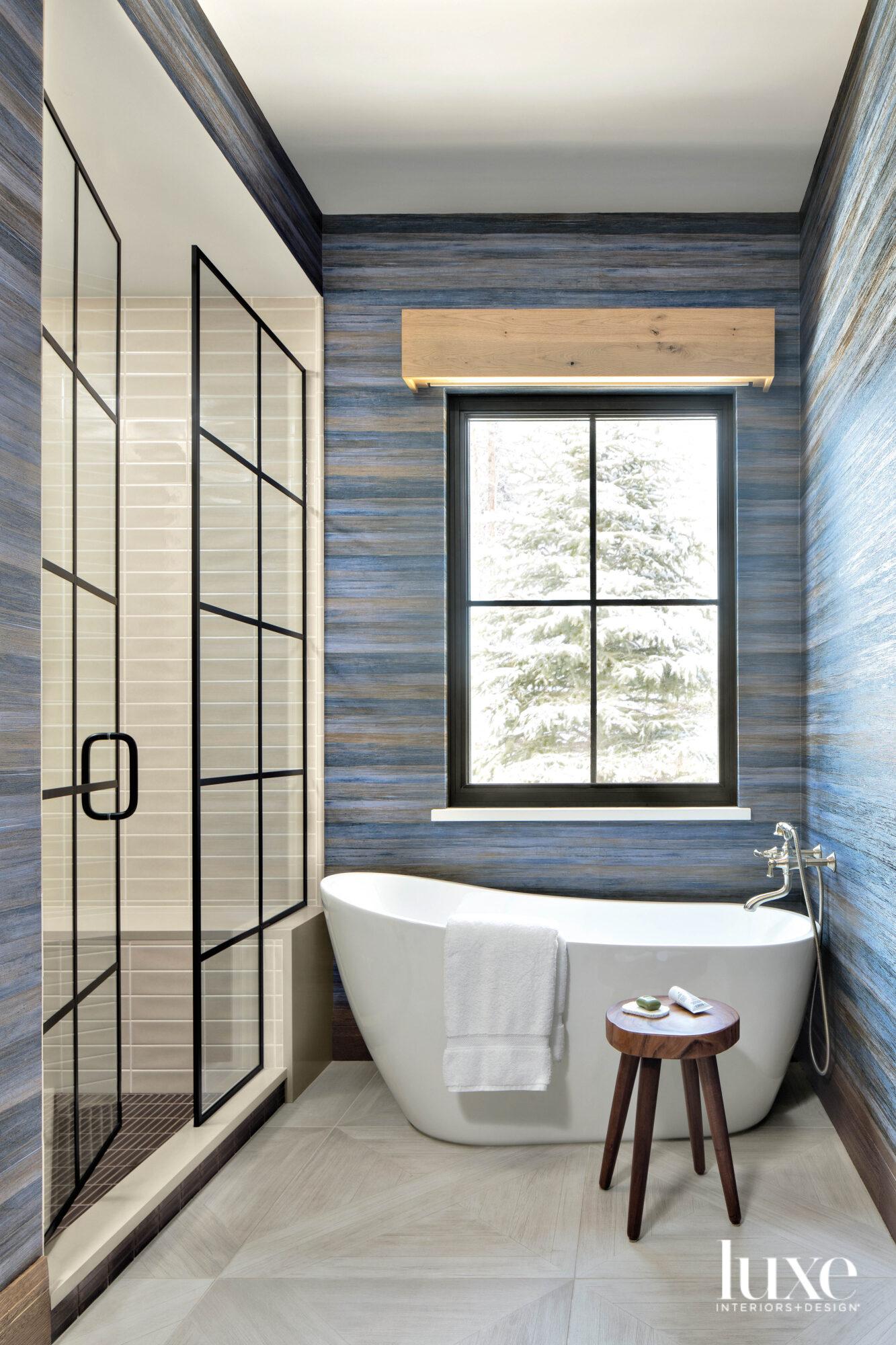 white sculptural tub in bathroom...