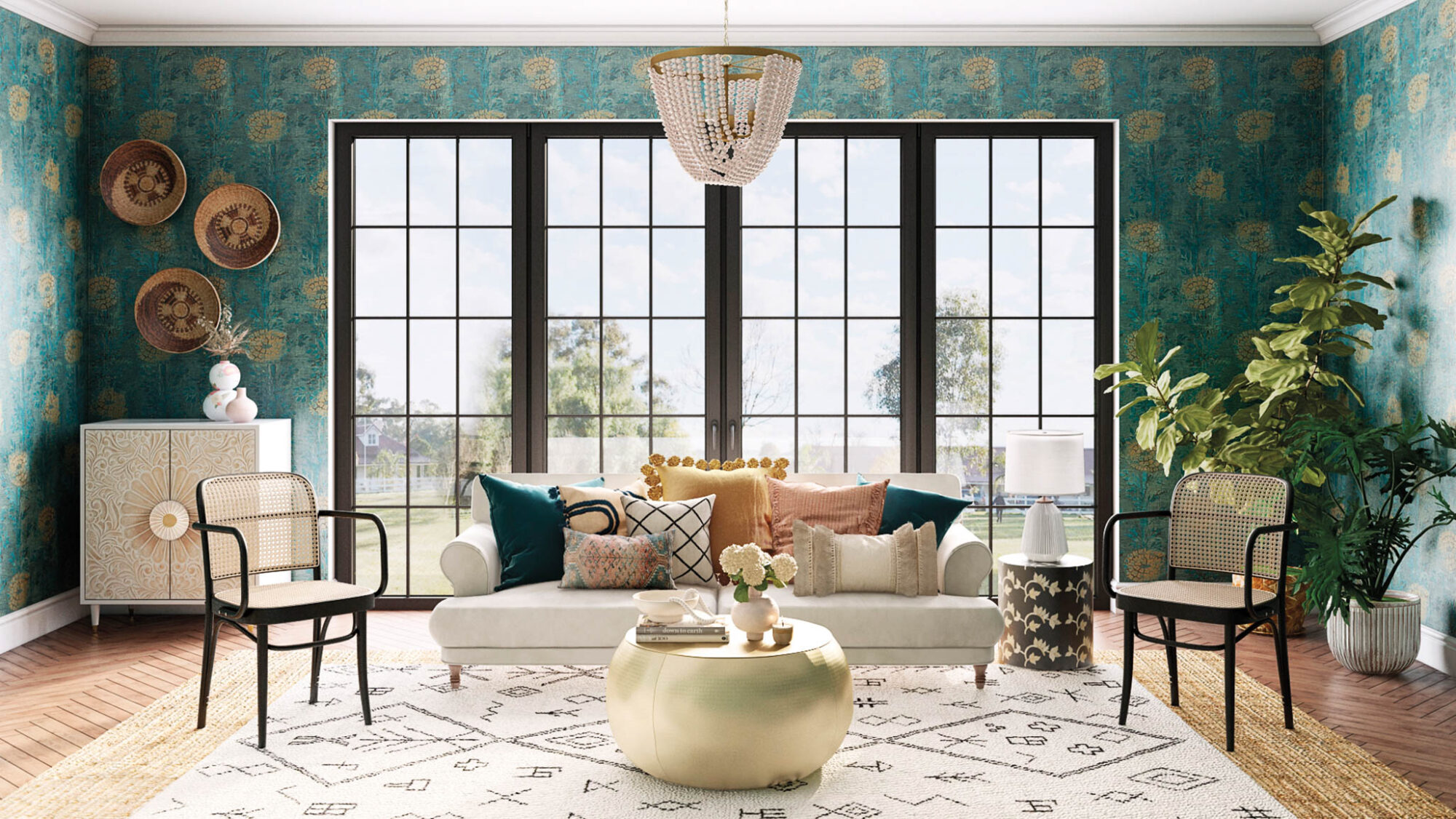 living area with gold table and green wallpaper