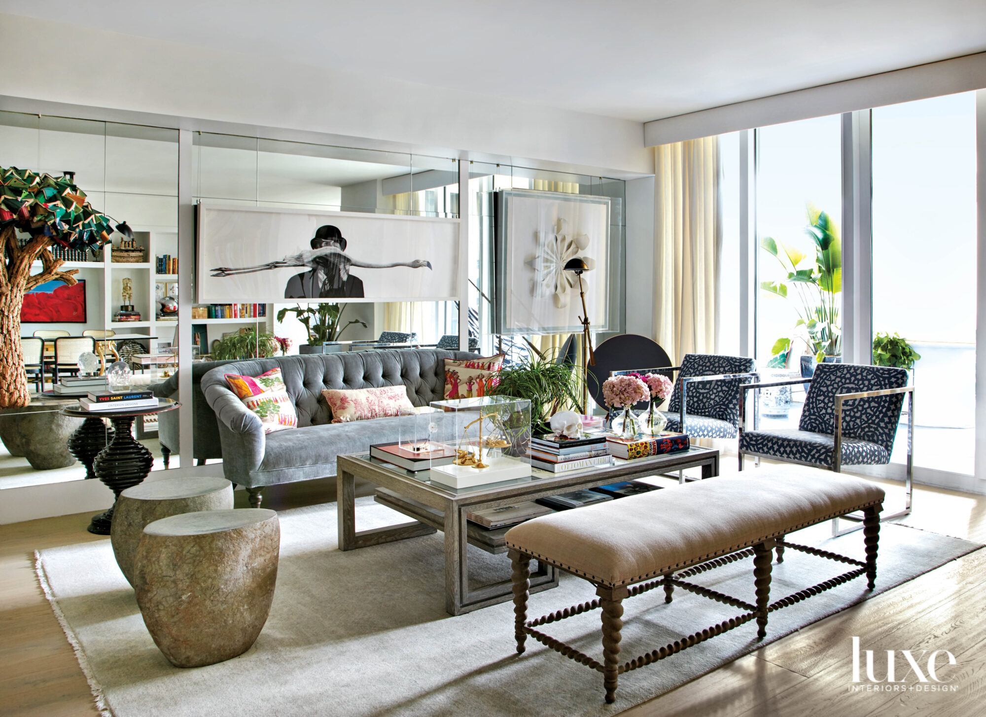 eclectic living area with gray...