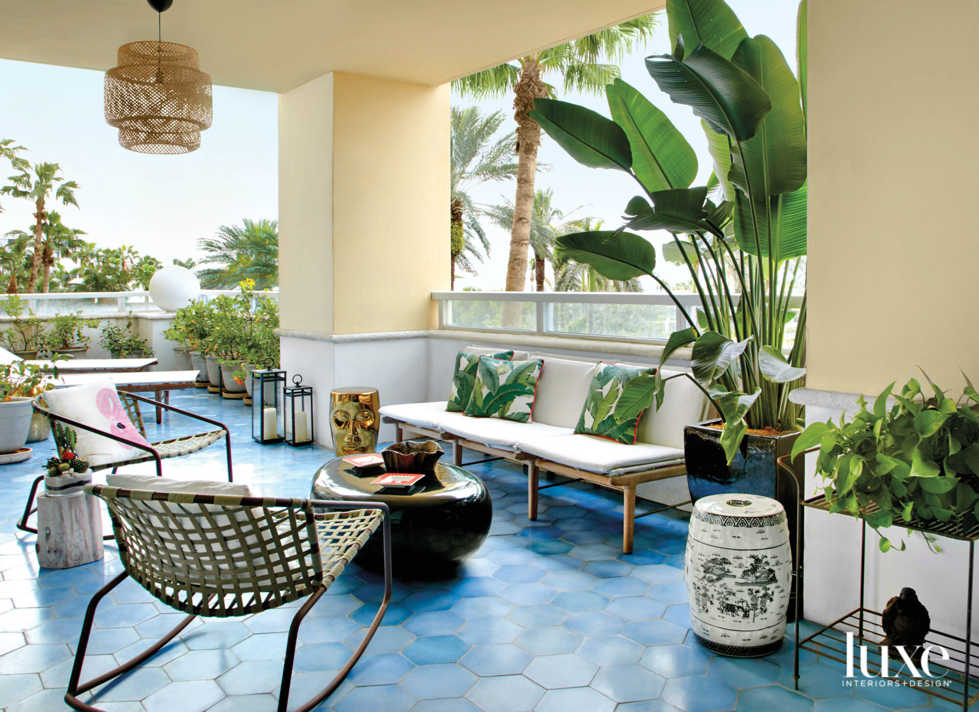 patio with blue tile flooring,...