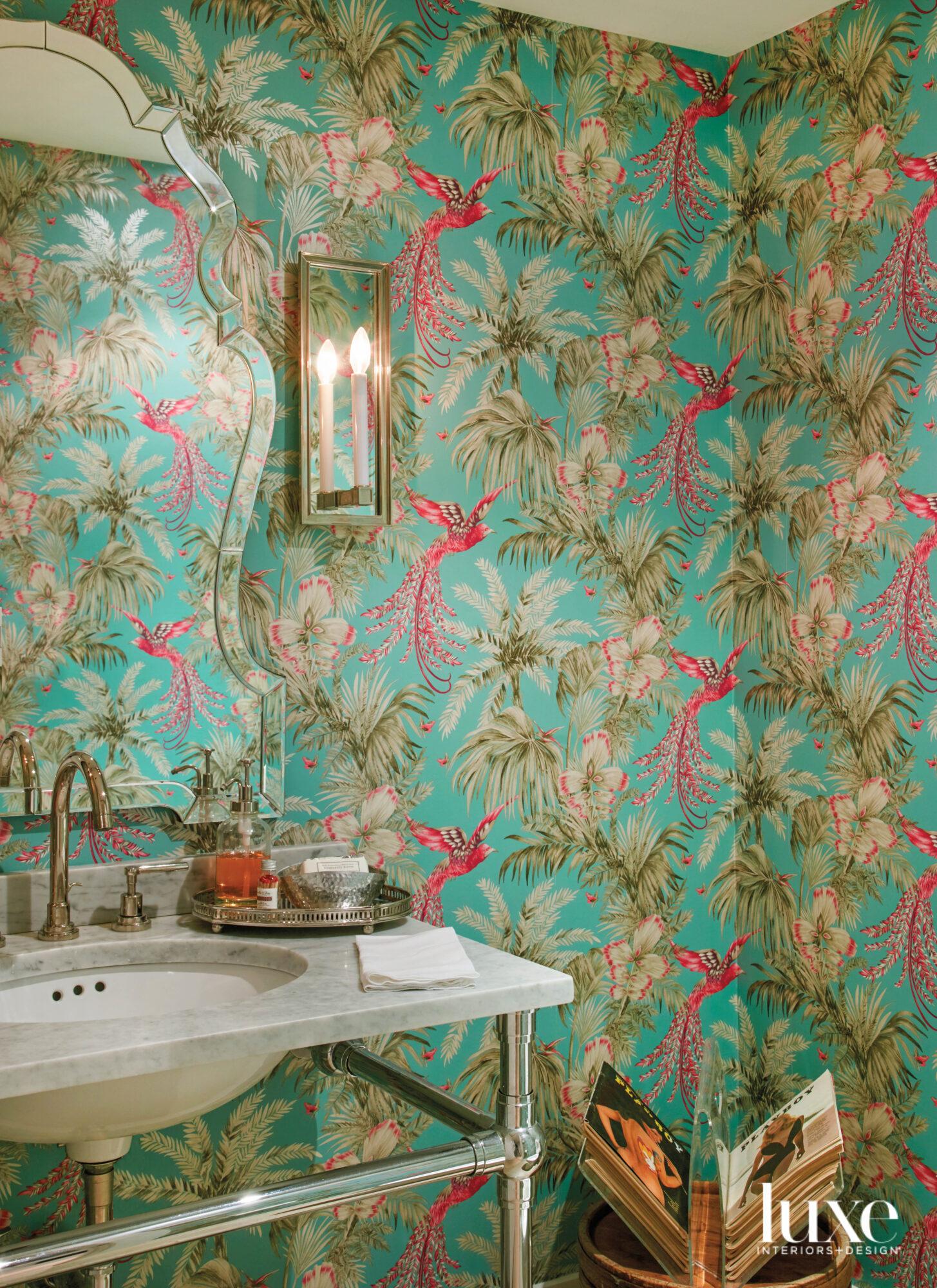 powder room with bright aqua...