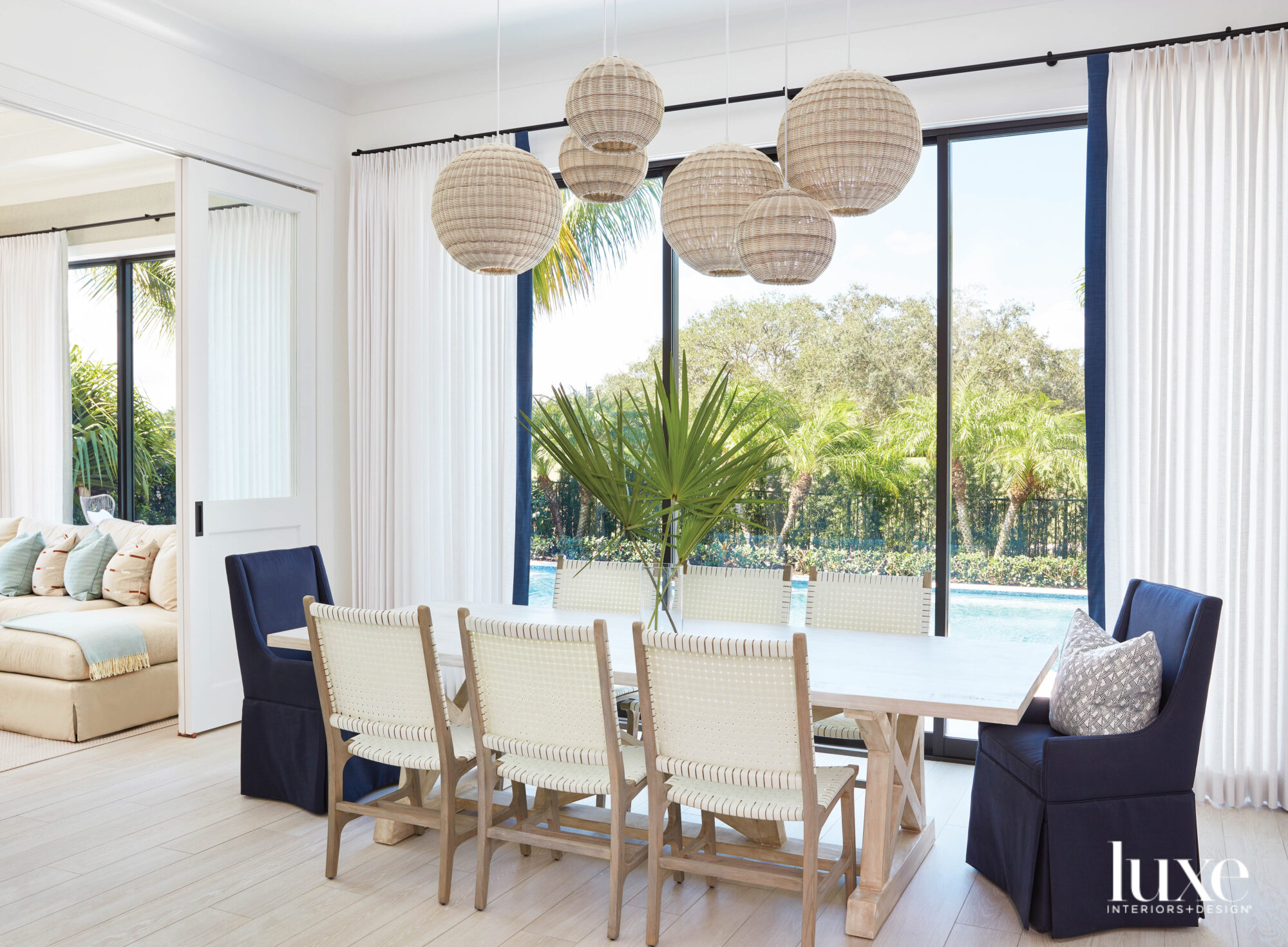 dining area with rattan lanterns,...