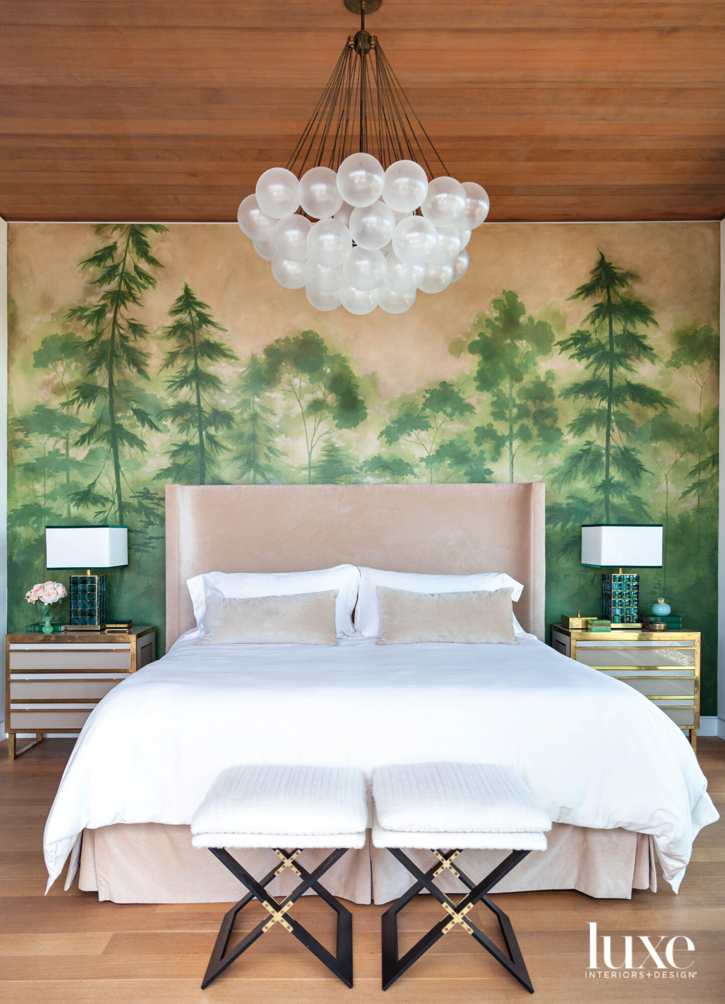 bedroom with redwood forest mural