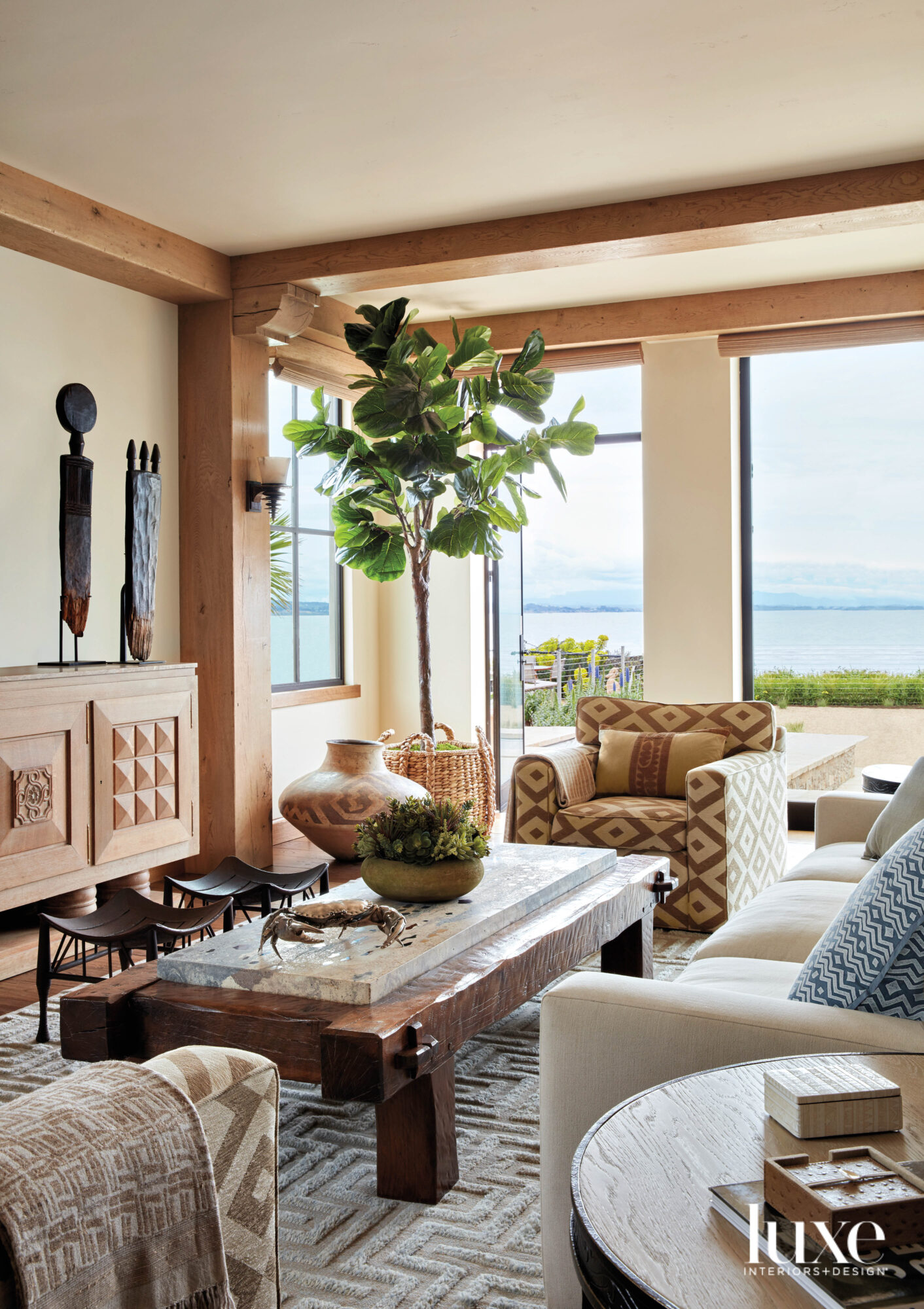 living room with tribal influences