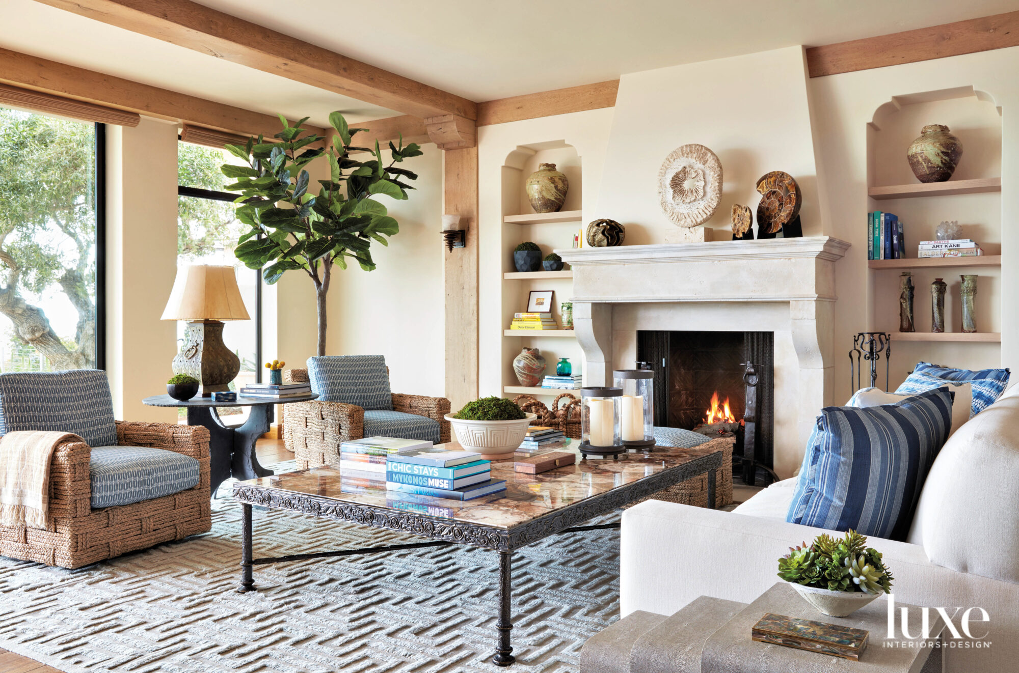 living room with fireplace and...