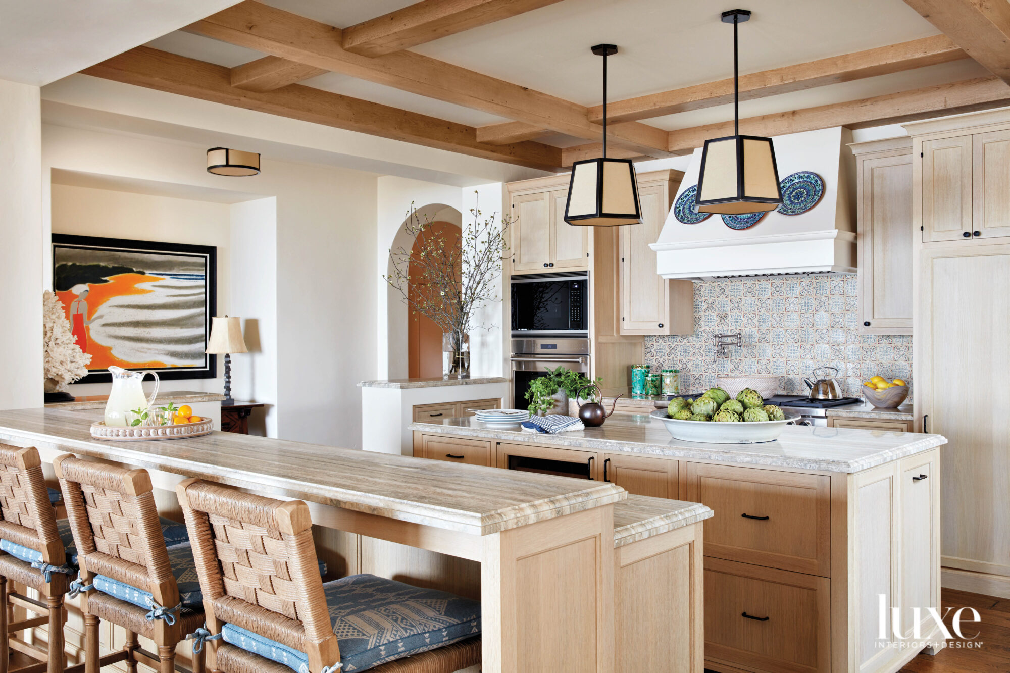 light wood kitchen and island