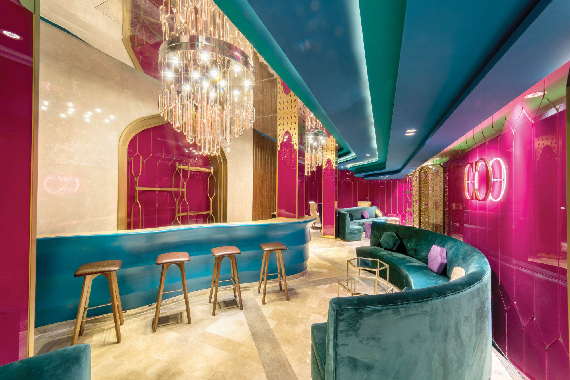 teal and pink interiors