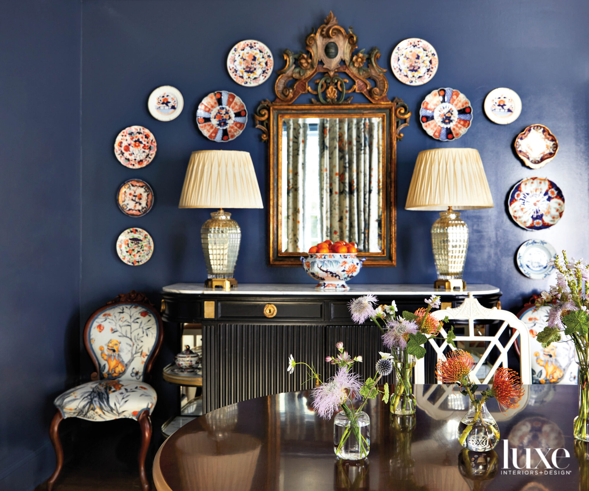 Dining sideboard against navy painted...