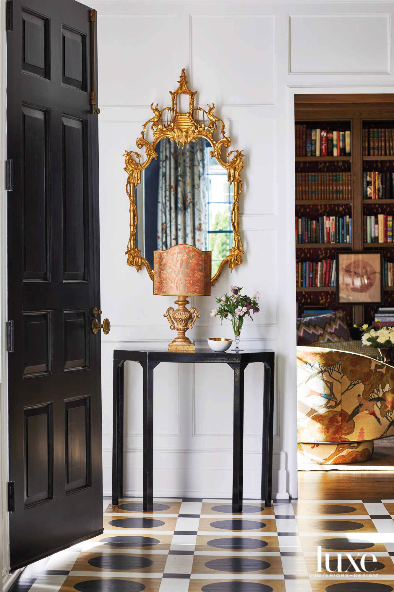 Entryway table with black door,...