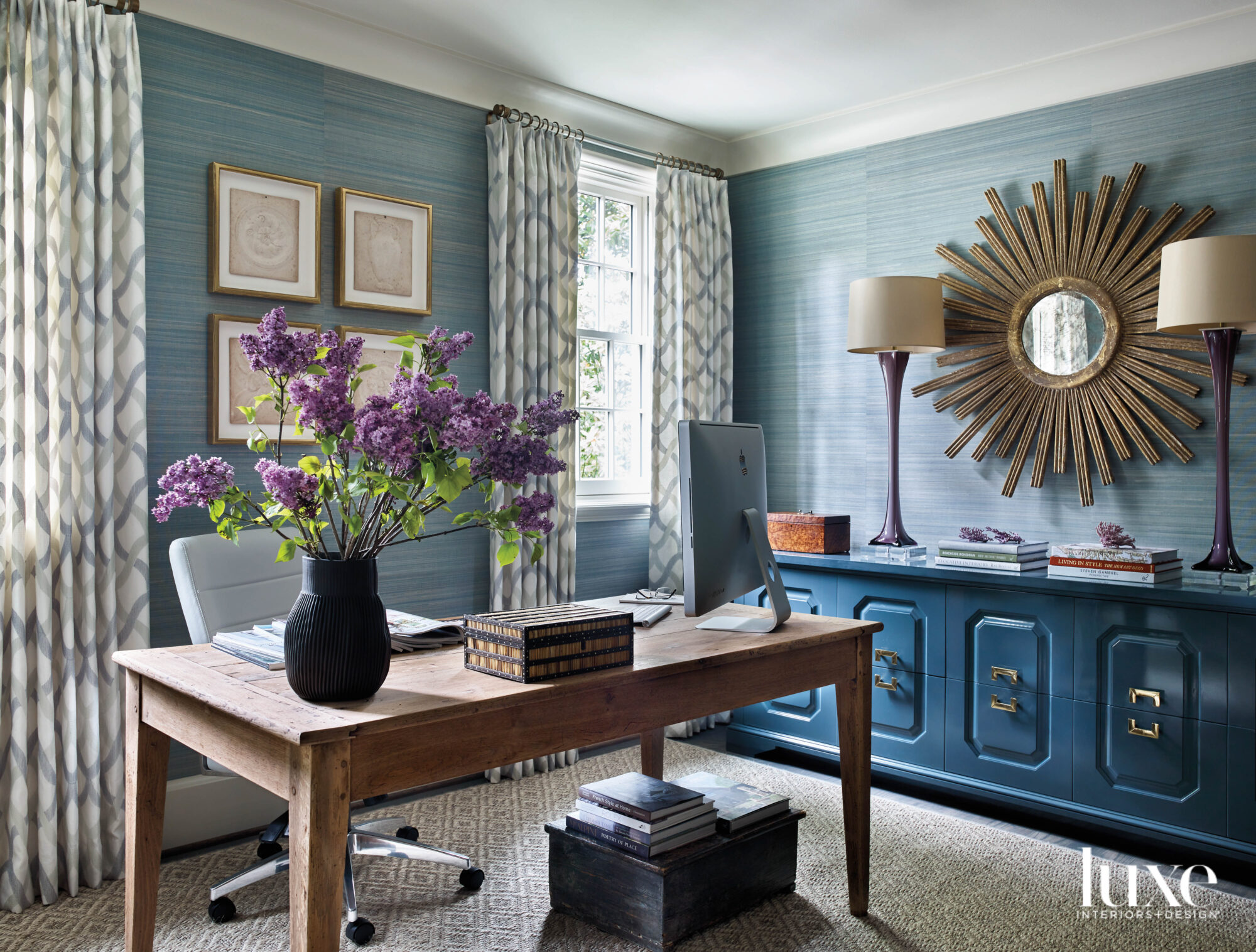 Home office with blue grasscloth...