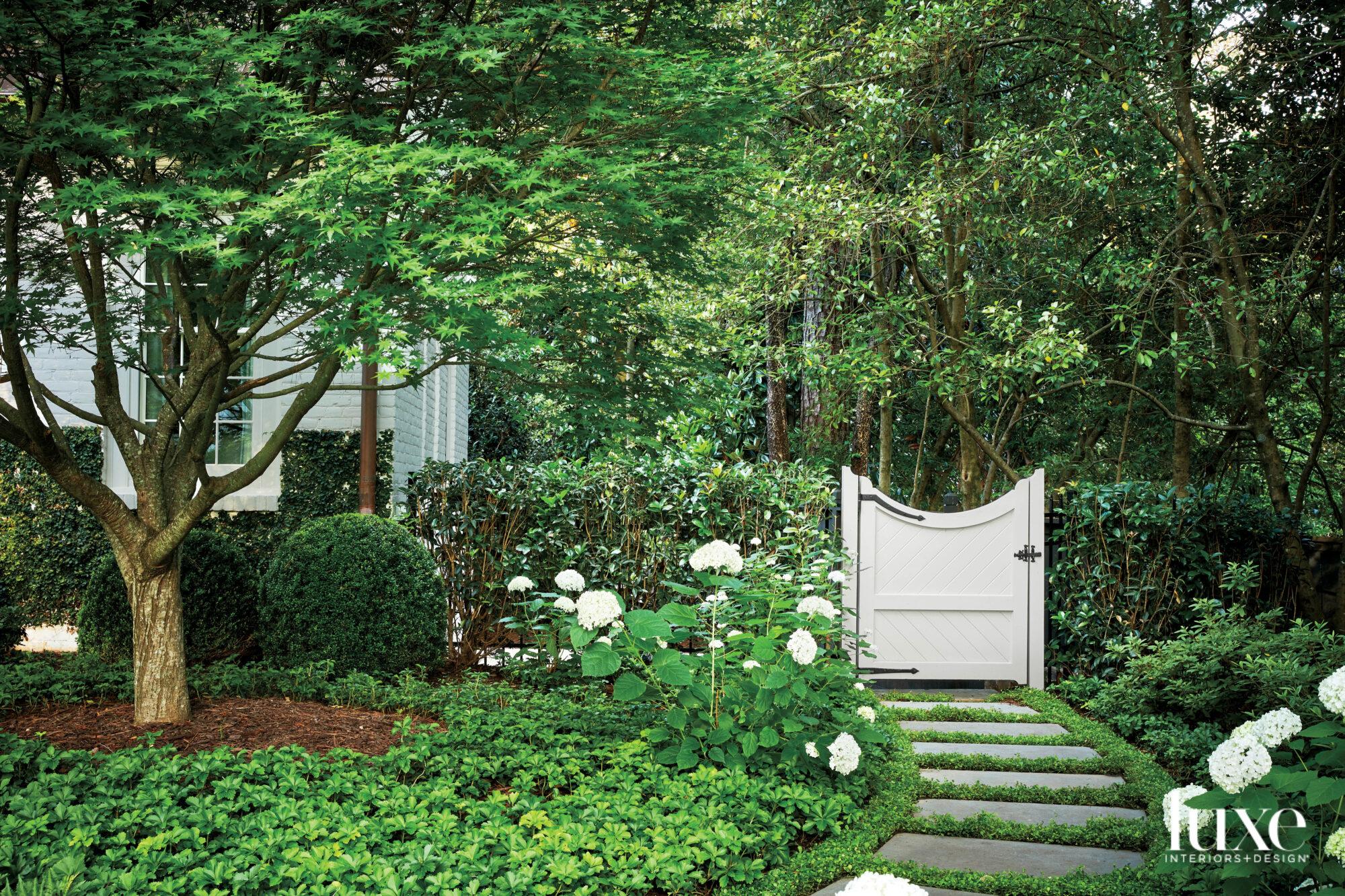 Lush green garden with winding...