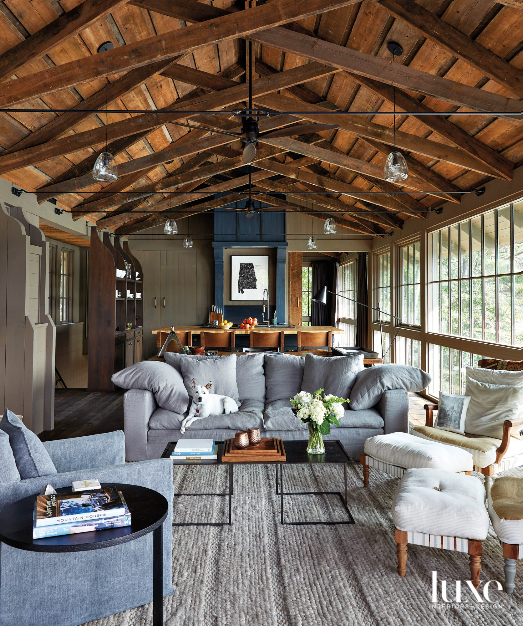 Rustic living room with exposed...