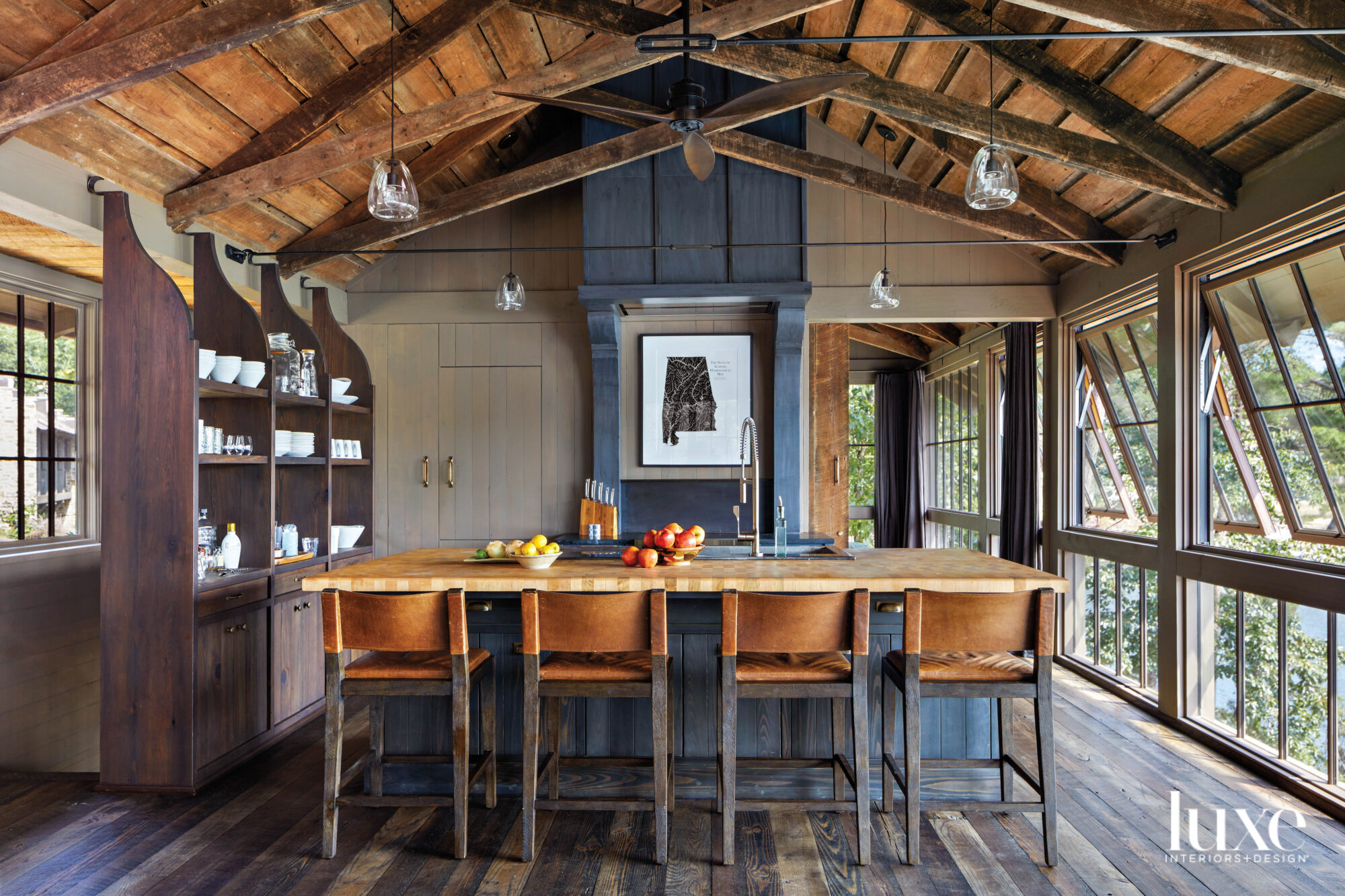 Close-up of rustic kitchen featuring...