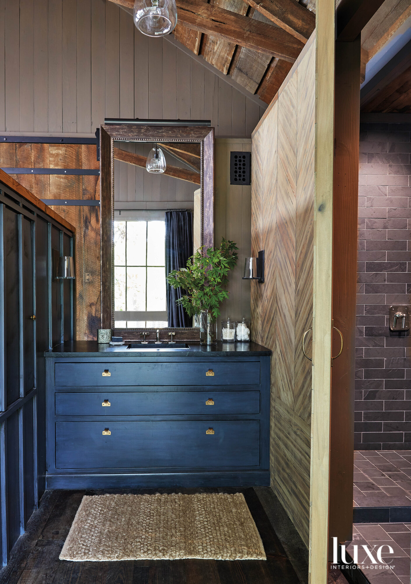 Dark blue-gray stained vanity cabinet...