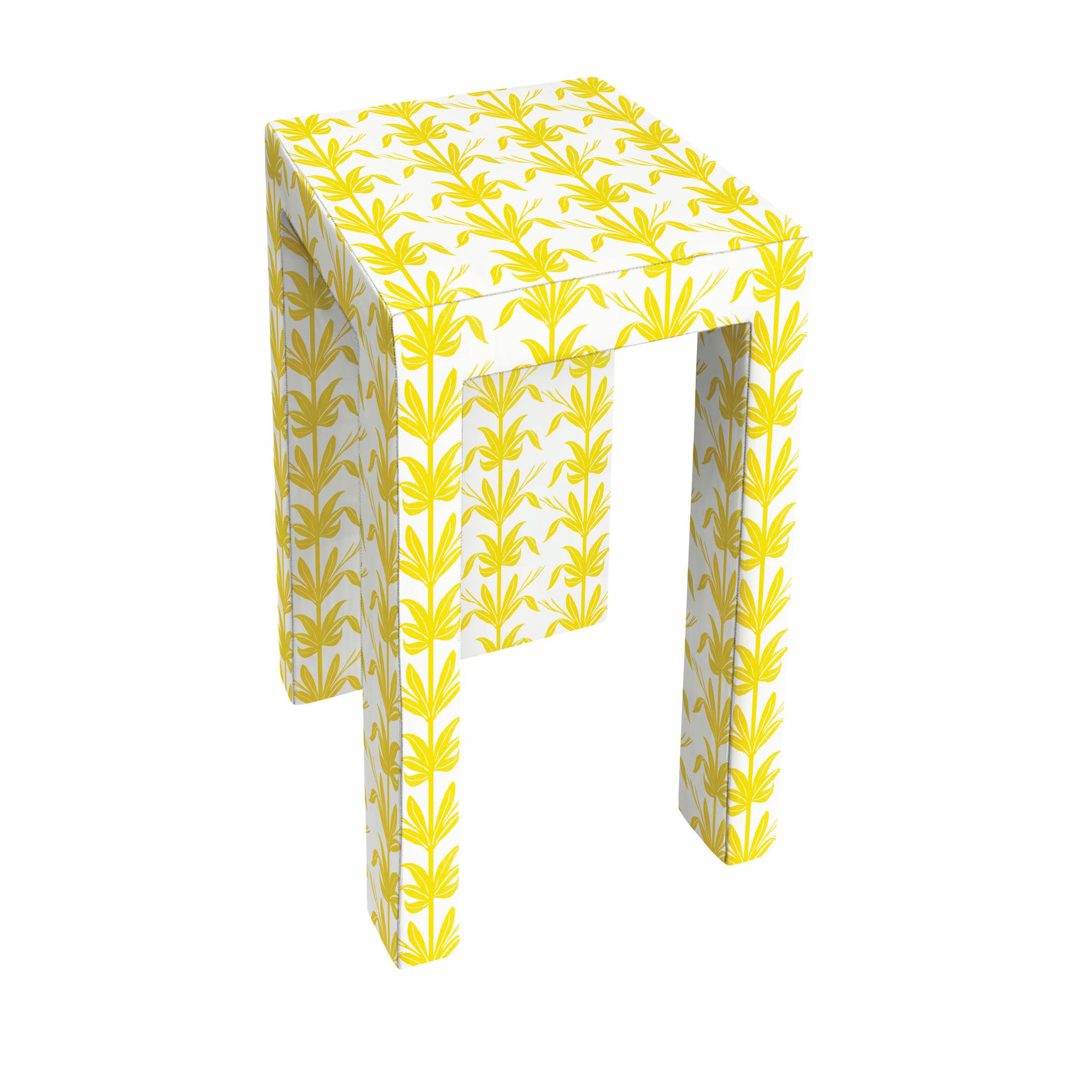 yellow and white stool