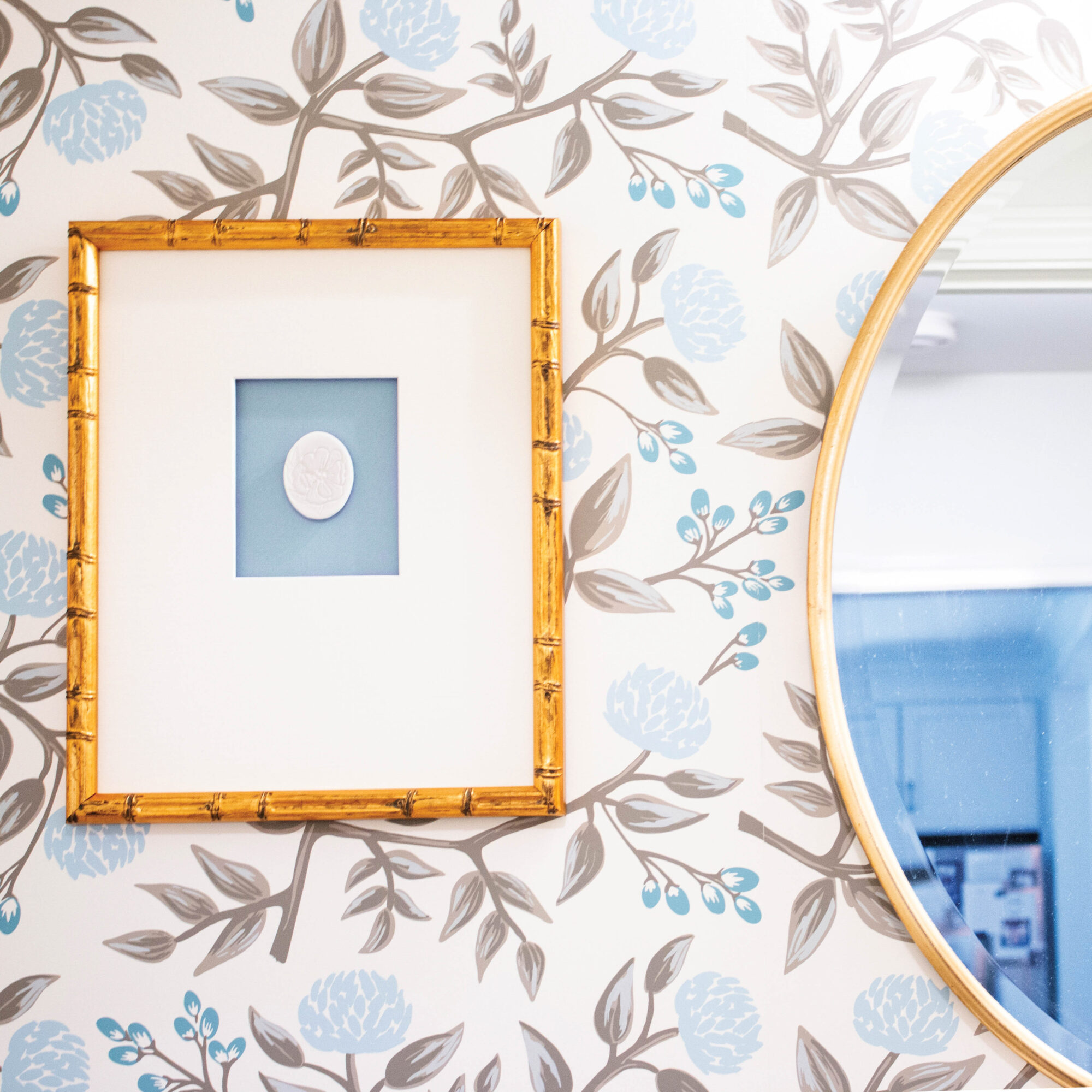 vignette of wallpaper and picture frame