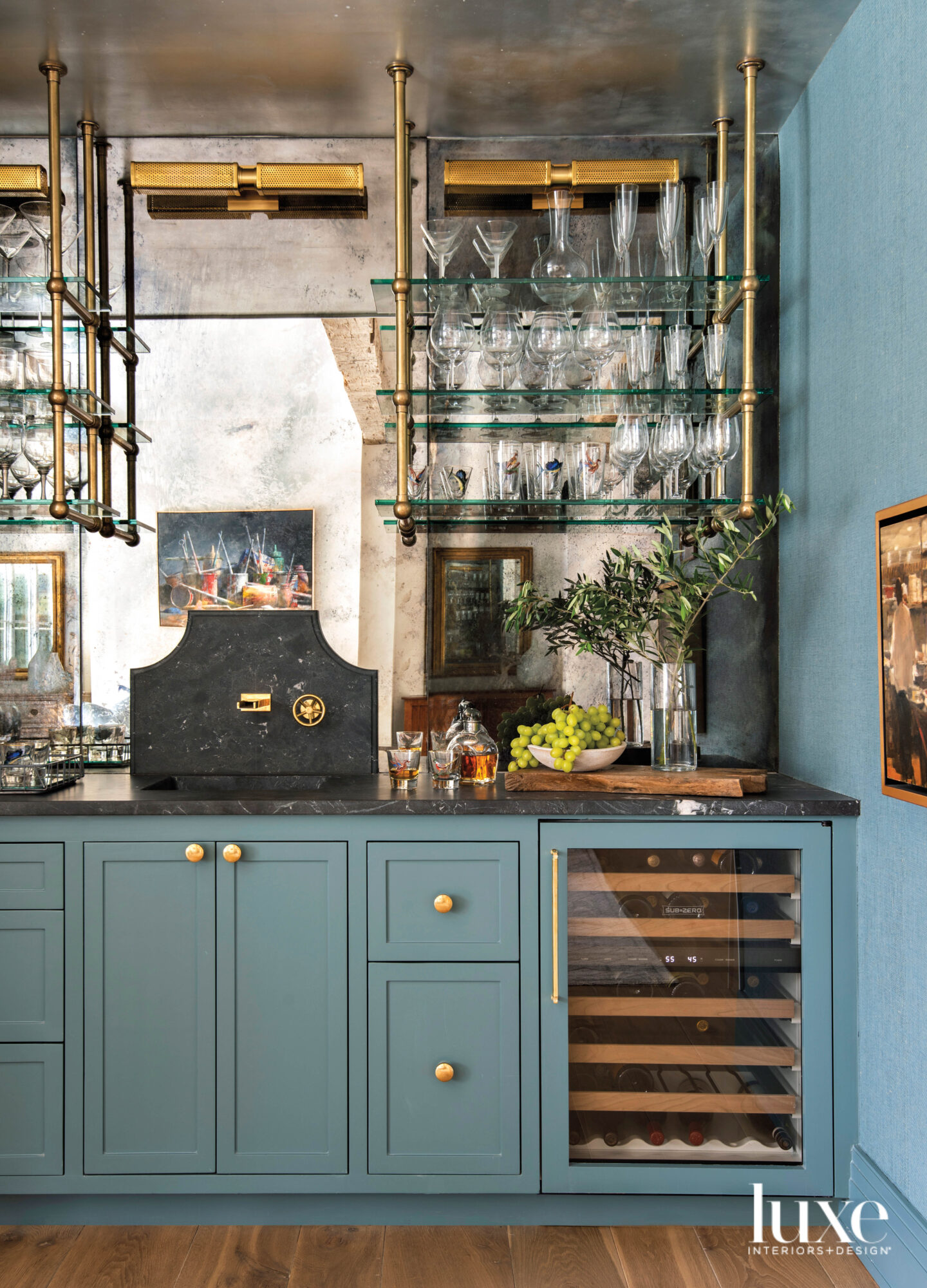Bar featuring cabinetry painted Sherwin-Williams...