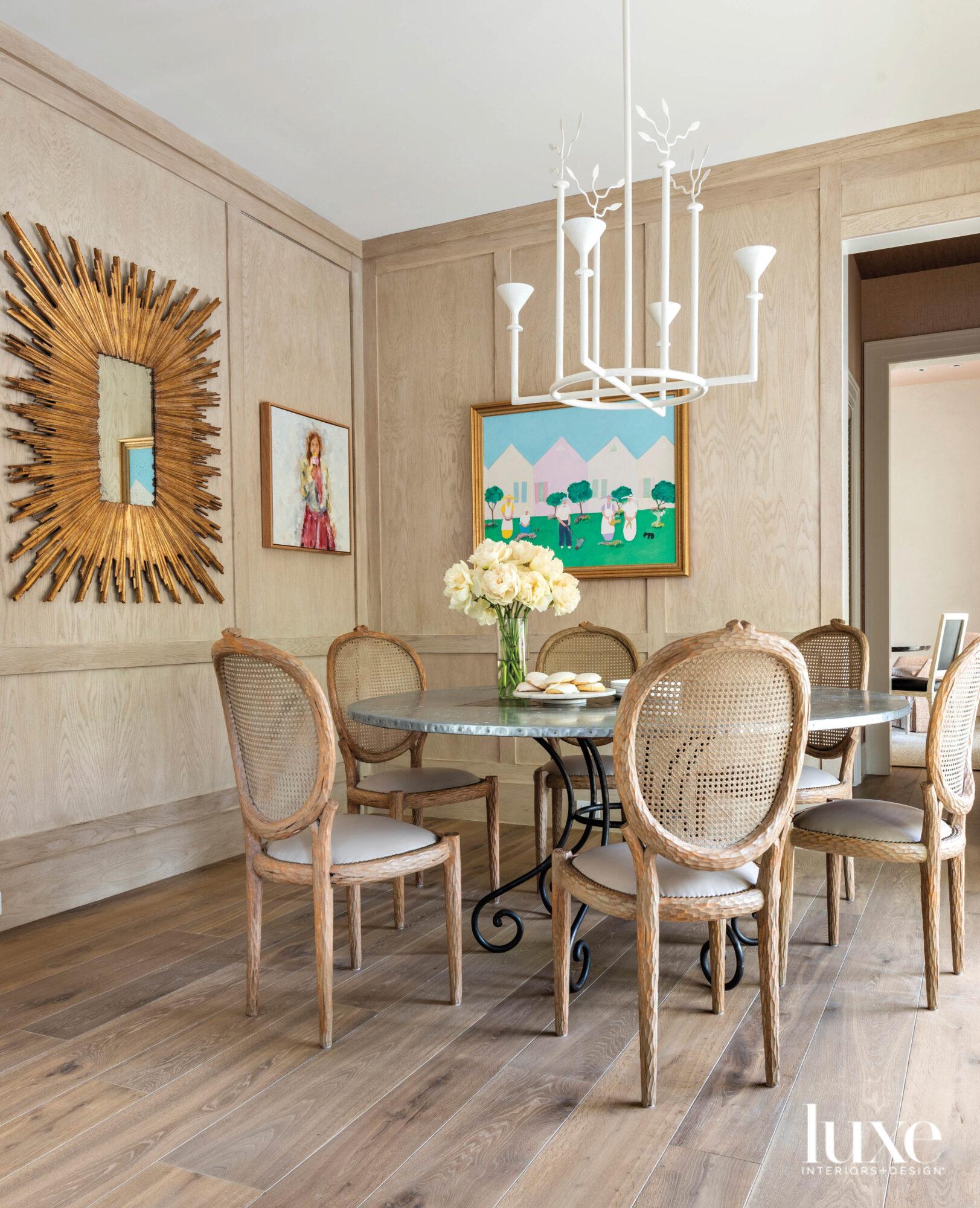White oak paneled breakfast room...