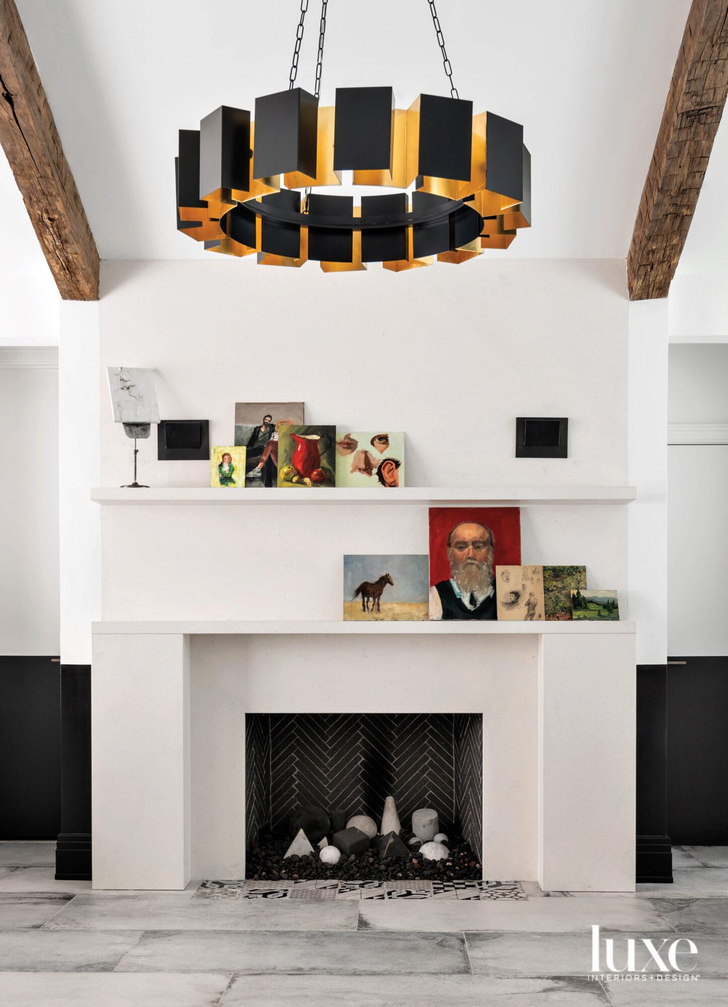 Art studio featuring limestone fireplace...