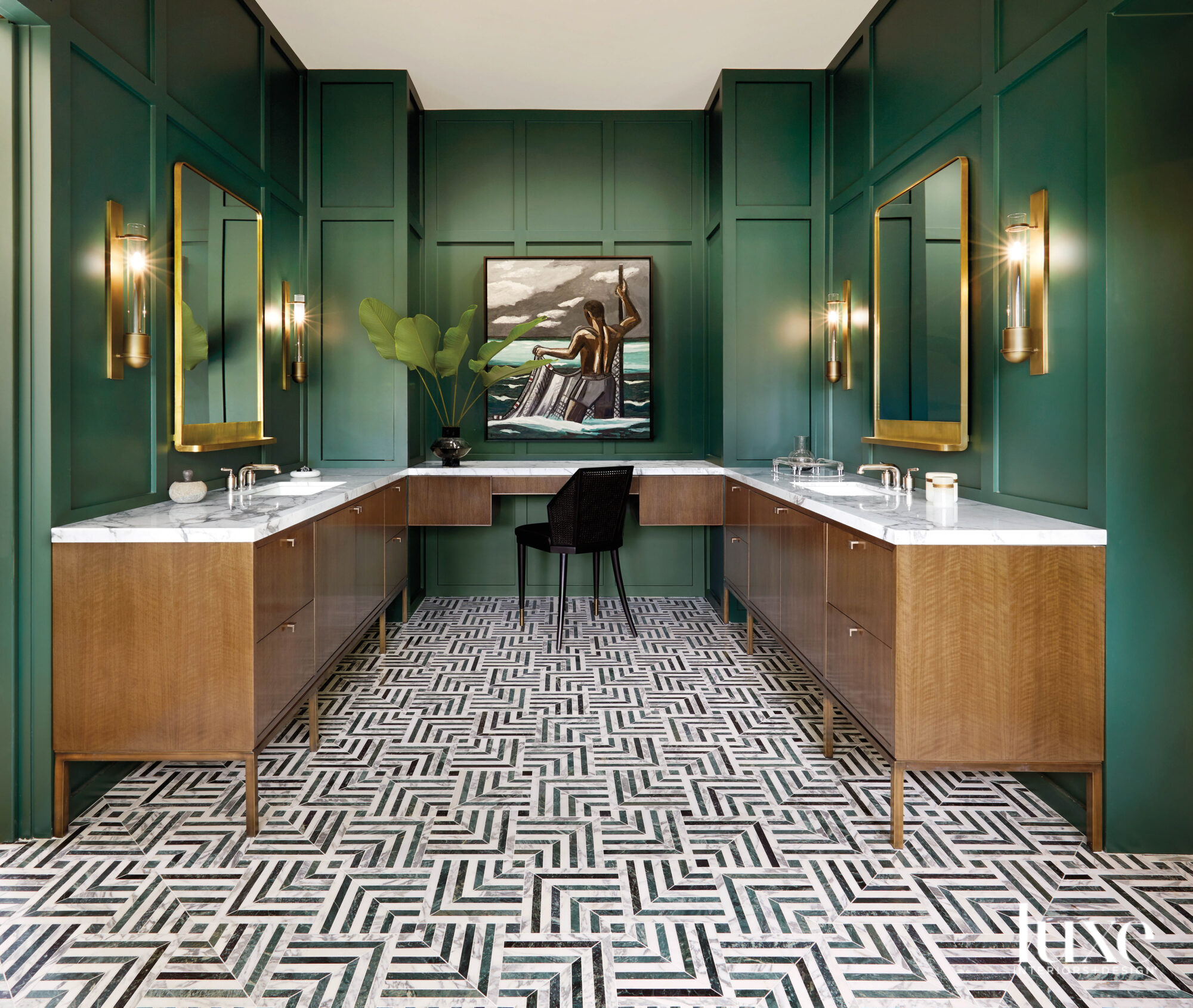 Bathroom featuring dark green walls...