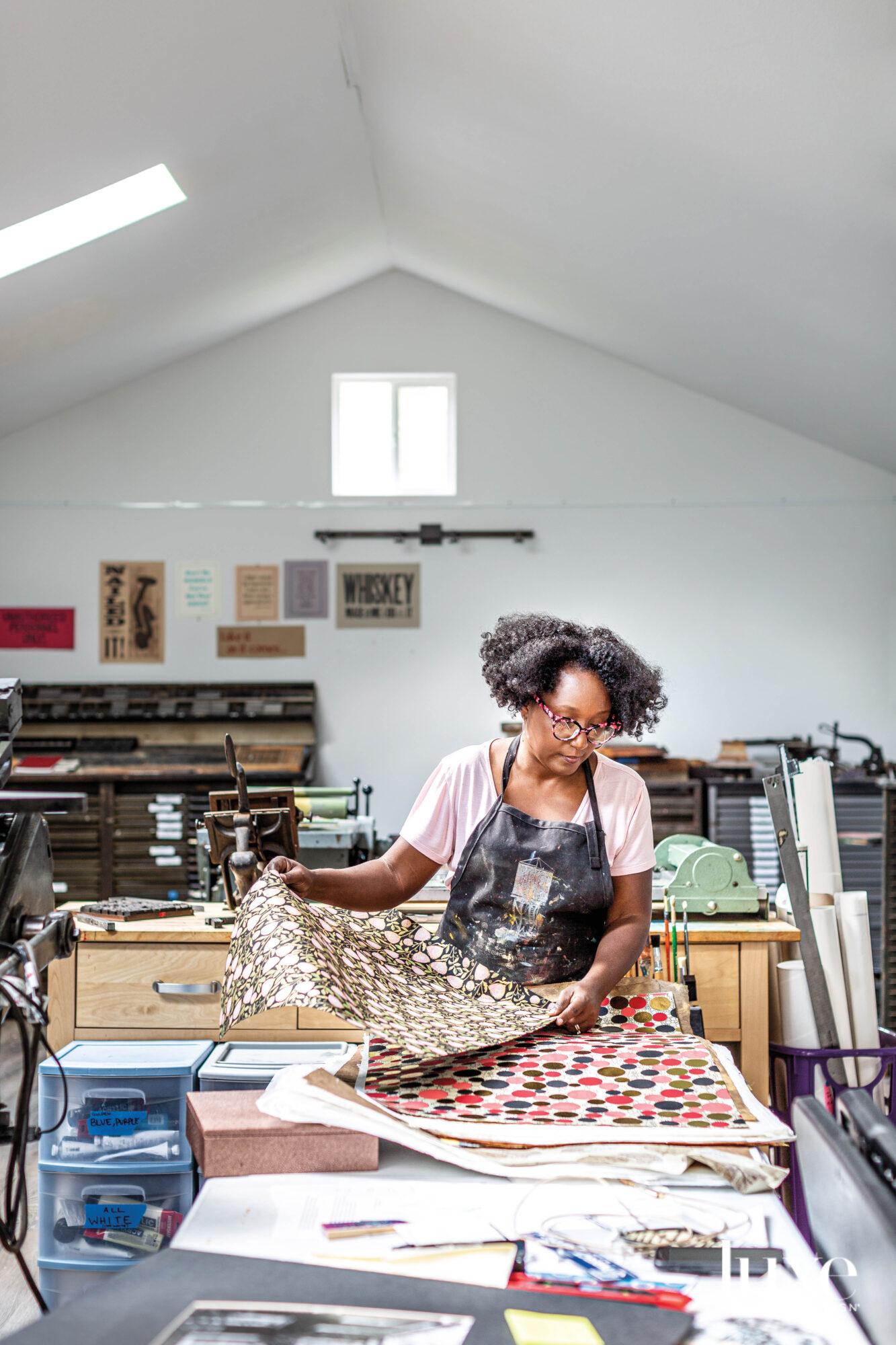 Delita Martin working in her Houston-area studio.