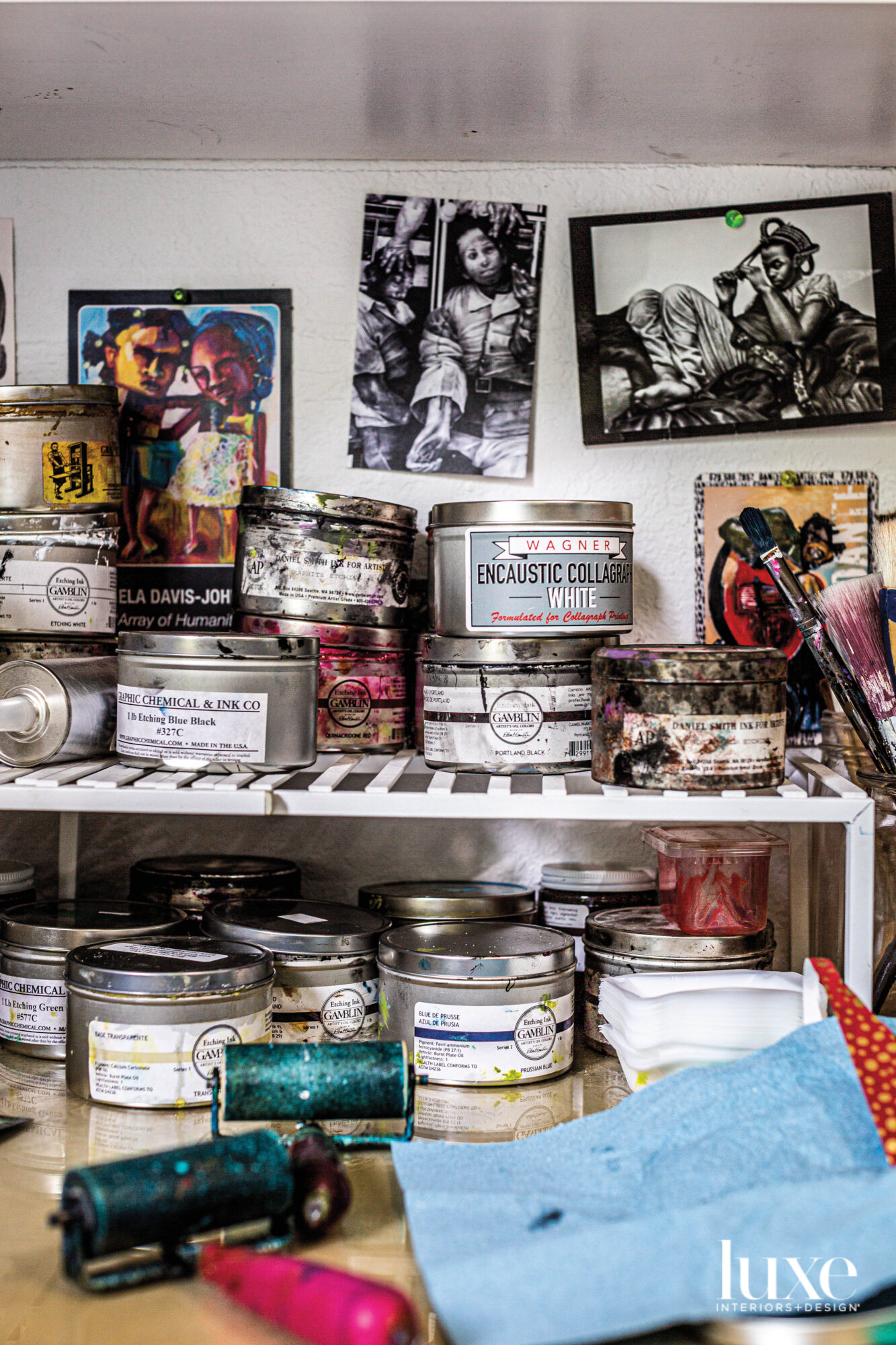 Supplies stored in Delita Martin's studio.