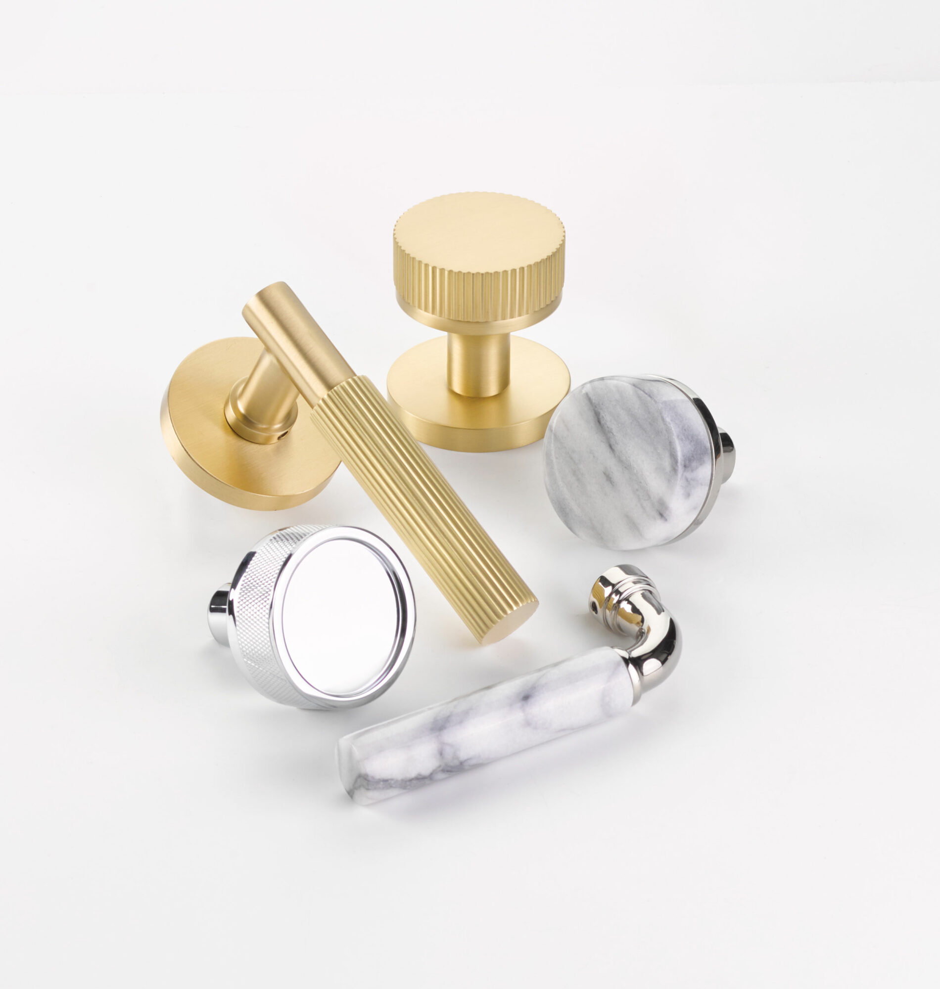 emtek clear and gold hardware