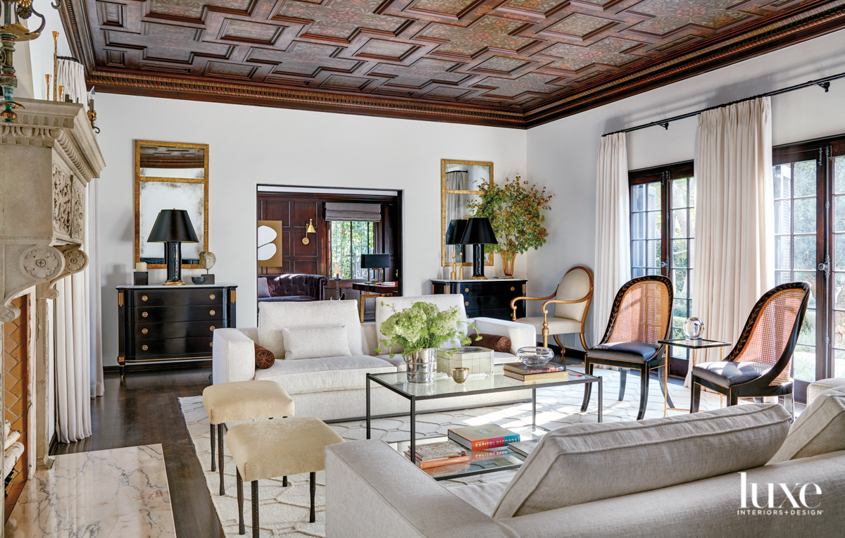 Living room with coffered ceilings...