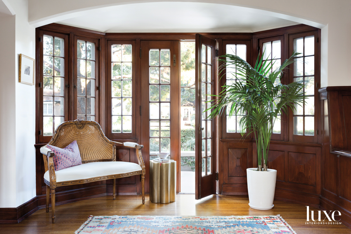 French doors with small settee...