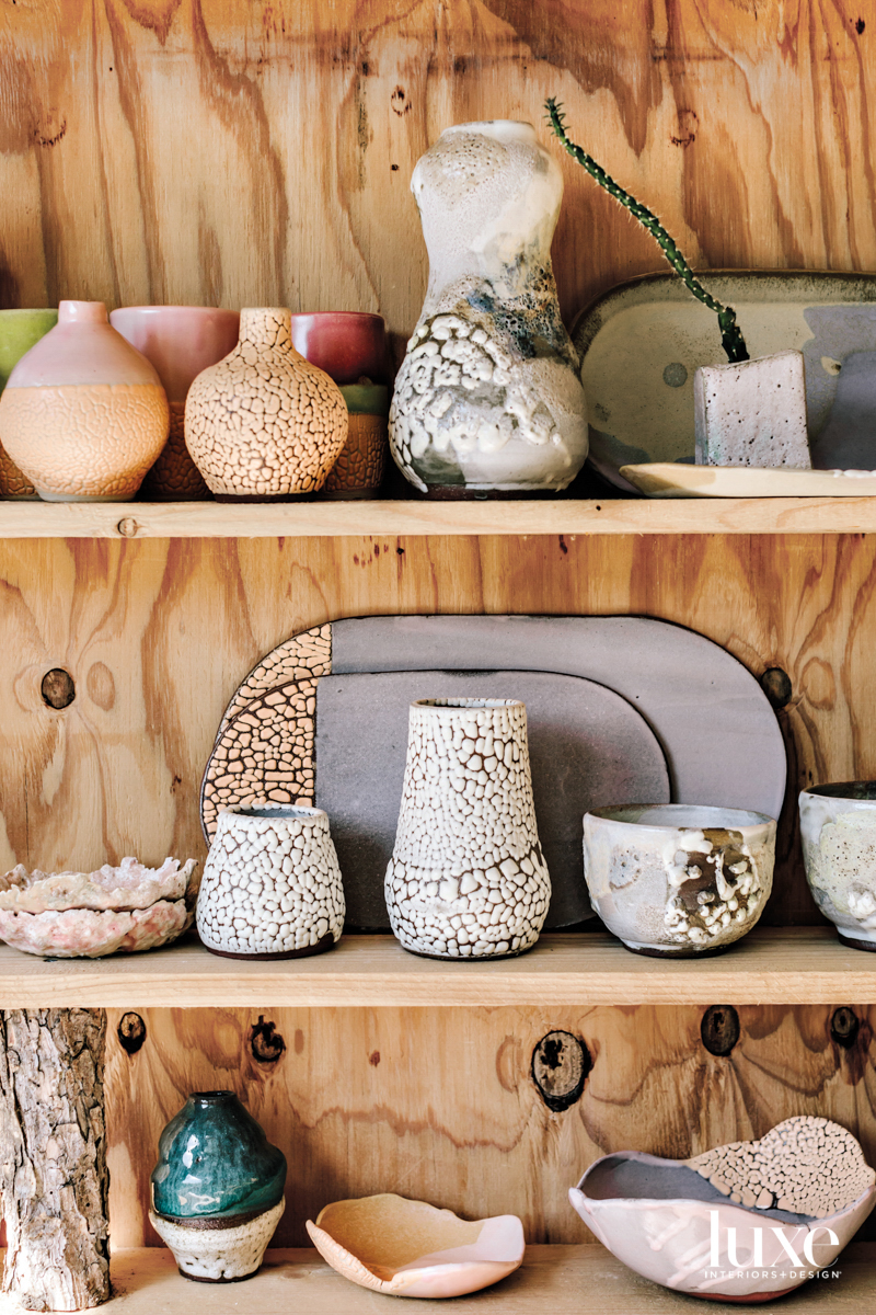 Close up of ceramic vessels with various glazes