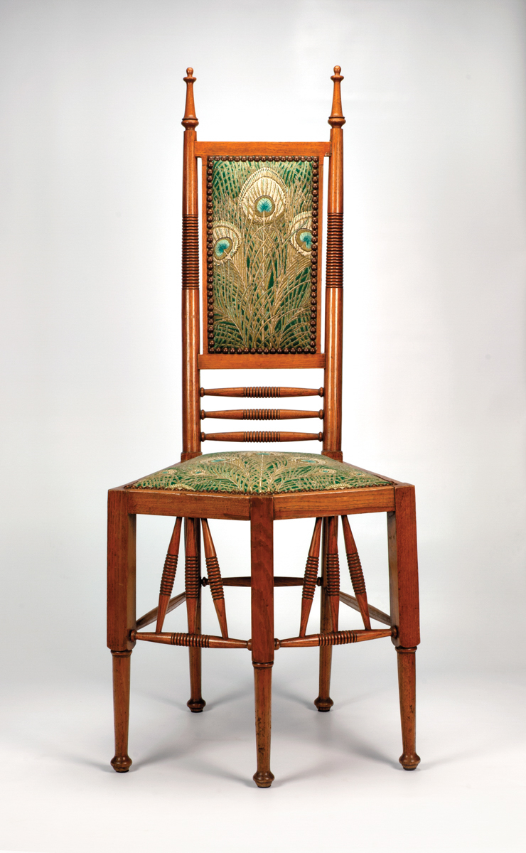 antique chair with peacock print