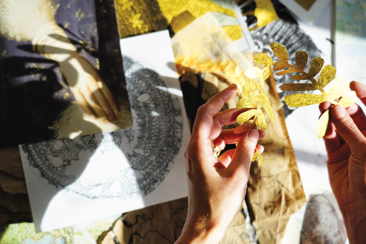 detail shot of hands holding art