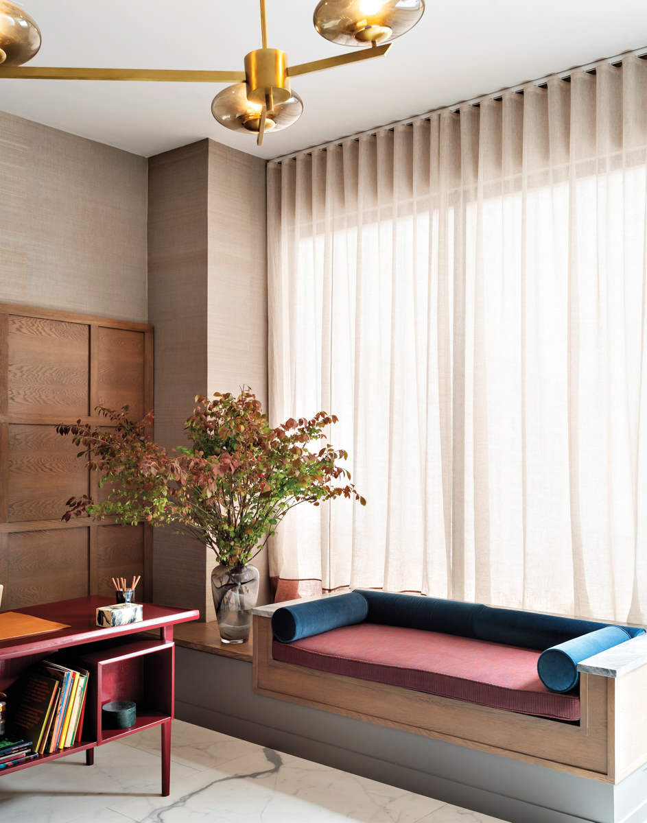 vignette of office with pink and blue bench